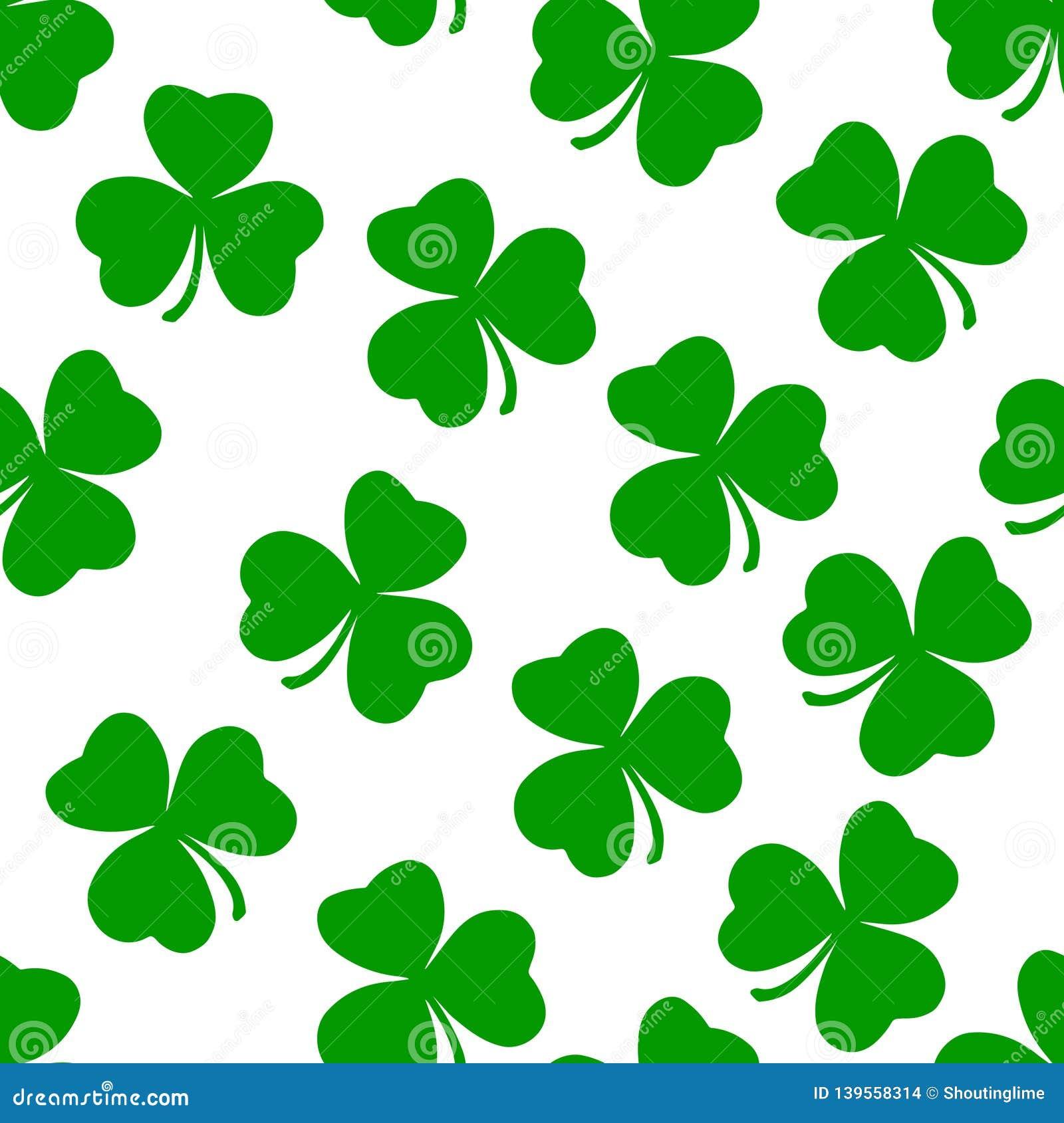 Zielonego Irlandia Shamrock Wektorowa Bezszwowa Deseniowa sztuka