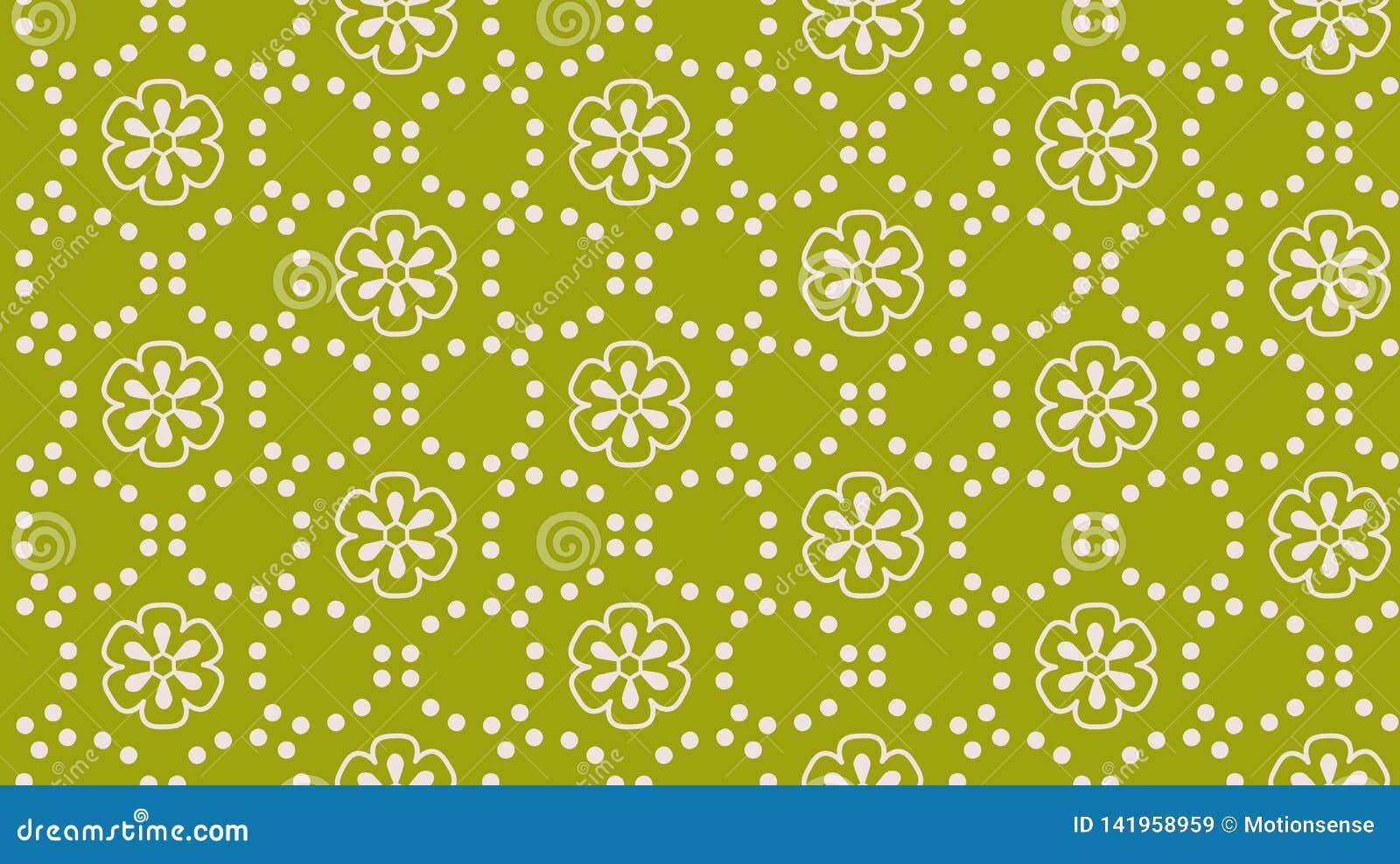 Zielonej abstrakcjonistycznej kwiat kropki wektorowy bezszwowy wzór