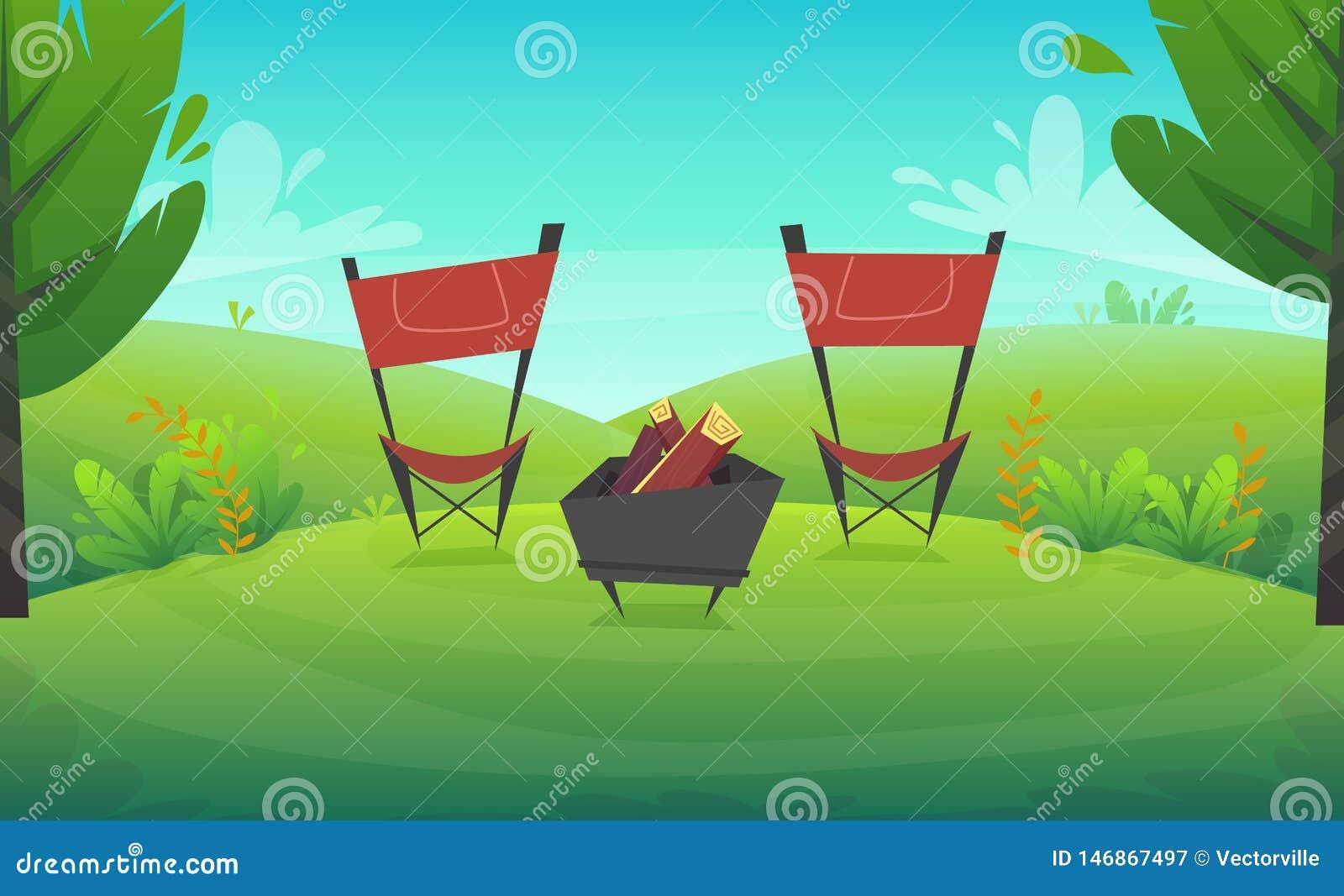 Zielonej trawy grilla grill przy drzewami i krzakami parkowymi lub lasowymi kwitnie scenerii tło, natura gazonu ekologii pokoju w