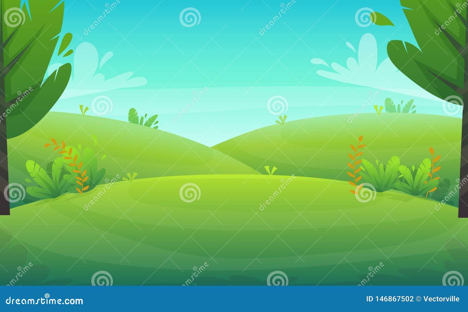 Zielonej trawy grilla grill przy drzewami i krzakami parkowymi lub lasowymi kwitnie scenerii t?o, natura gazonu ekologii pokoju w