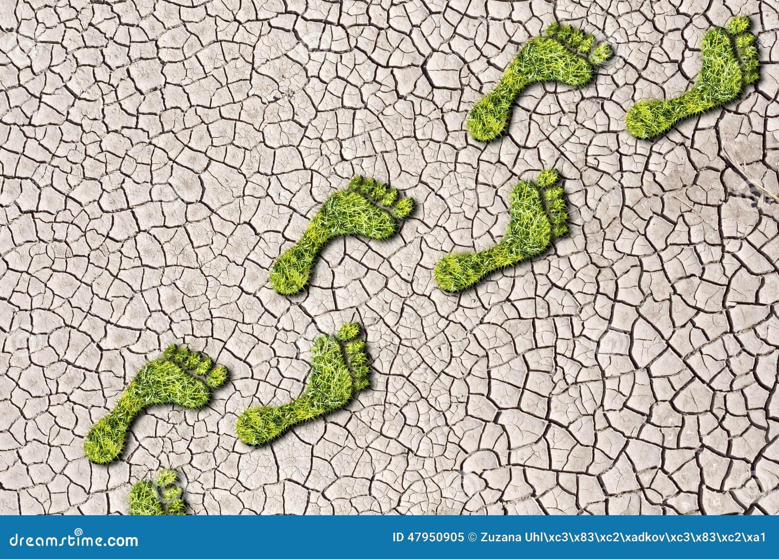 Zielonej trawy narastający odciski stopy na krakingowym ziemskim tle