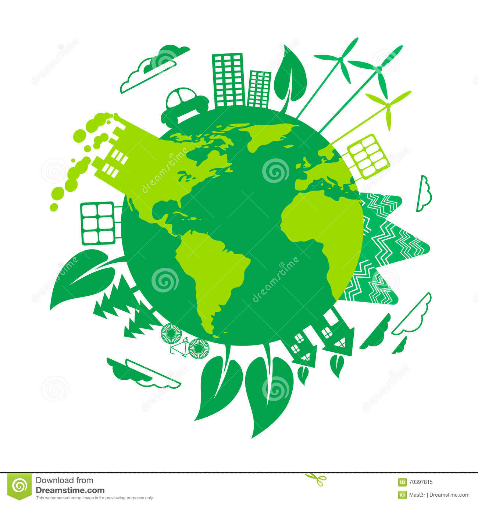 Zielonej ziemi Eco kuli ziemskiej silnika wiatrowego energii słonecznej panel