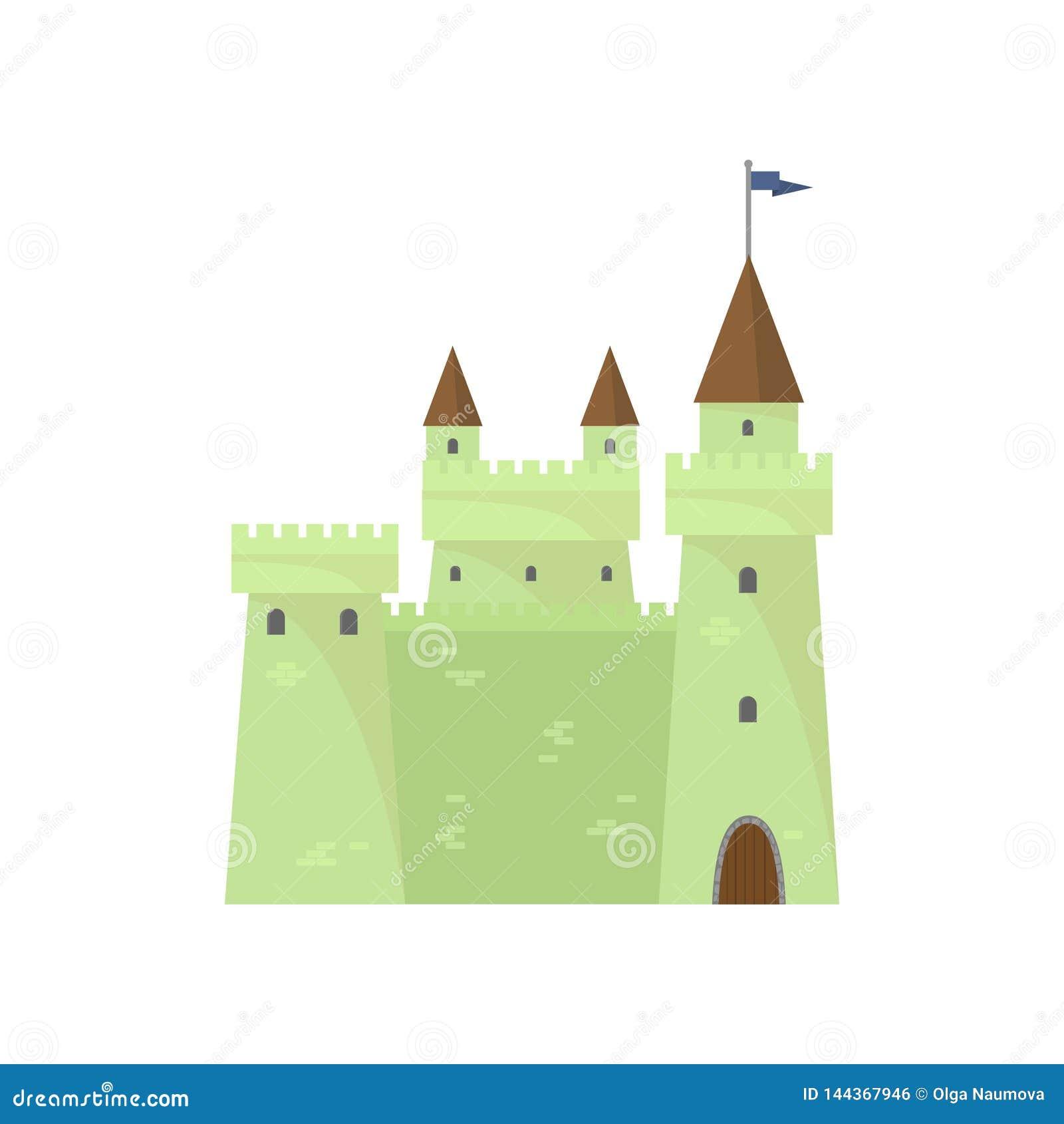 Zielony śliczny cegła kasztel rycerze góruje królewiątko