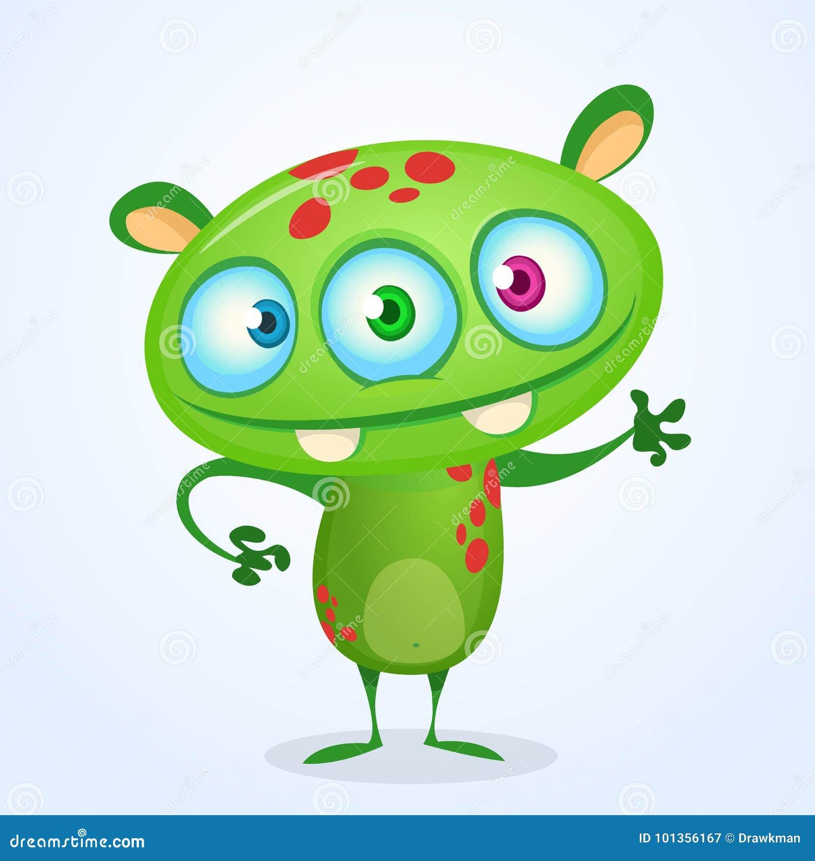 Zielony śmieszny szczęśliwy kreskówka potwór Zielony wektorowy obcy charakter z trzy oczami Halloweenowy projekt