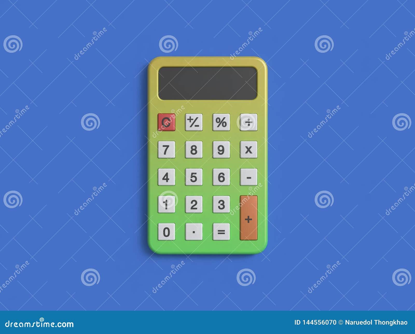 Zielony żółty kalkulator na błękitnym tle 3d odpłaca się minimalnego styl
