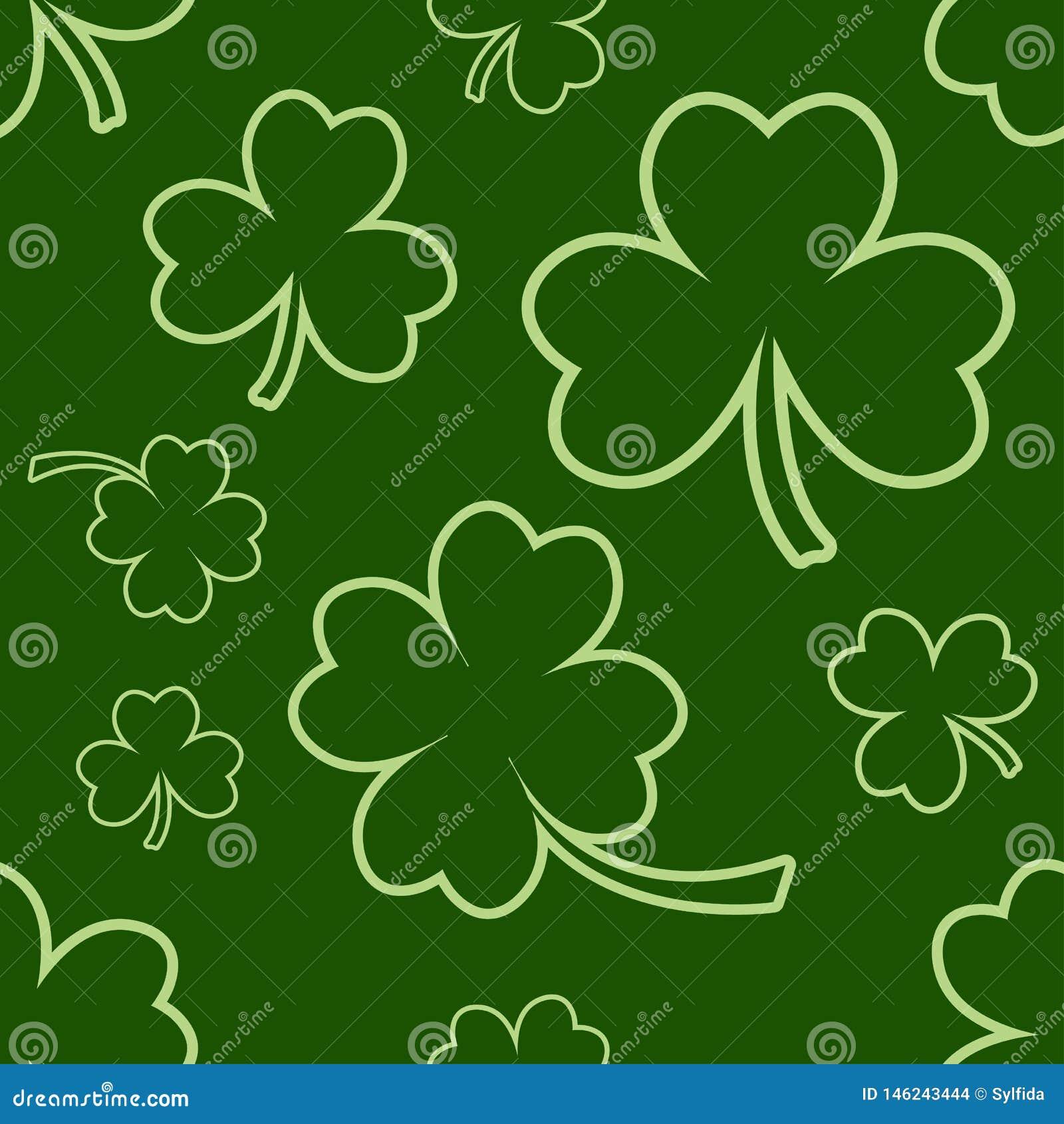 Zielony bezszwowy wz?r z cztery i drzewne li?? koniczyny dla ?wi?tego Patrick ` s dnia wektor