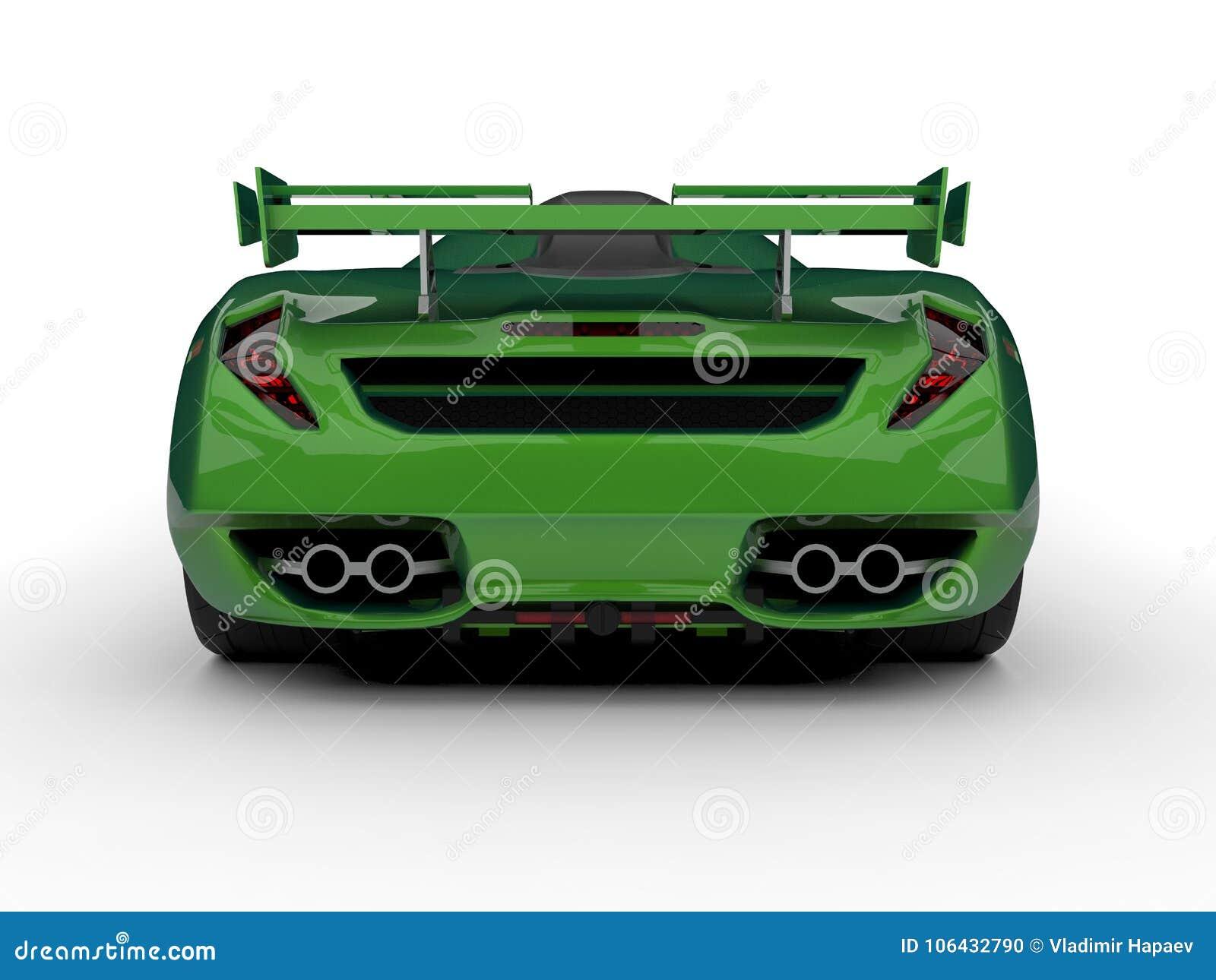 Zielony bieżny pojęcie samochód Wizerunek samochód na białym tle świadczenia 3 d