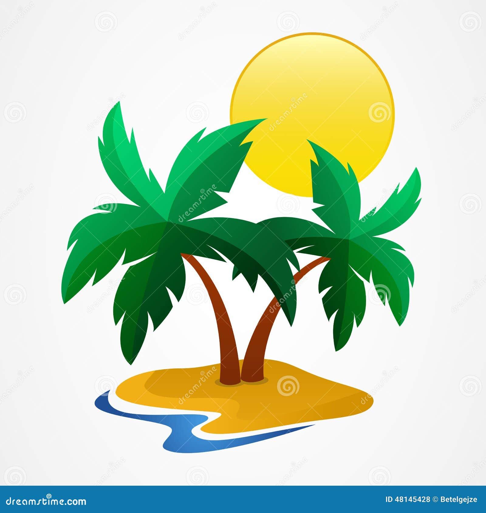 Zielony drzewko palmowe na tropikalnej wyspie również zwrócić corel ilustracji wektora przeciw