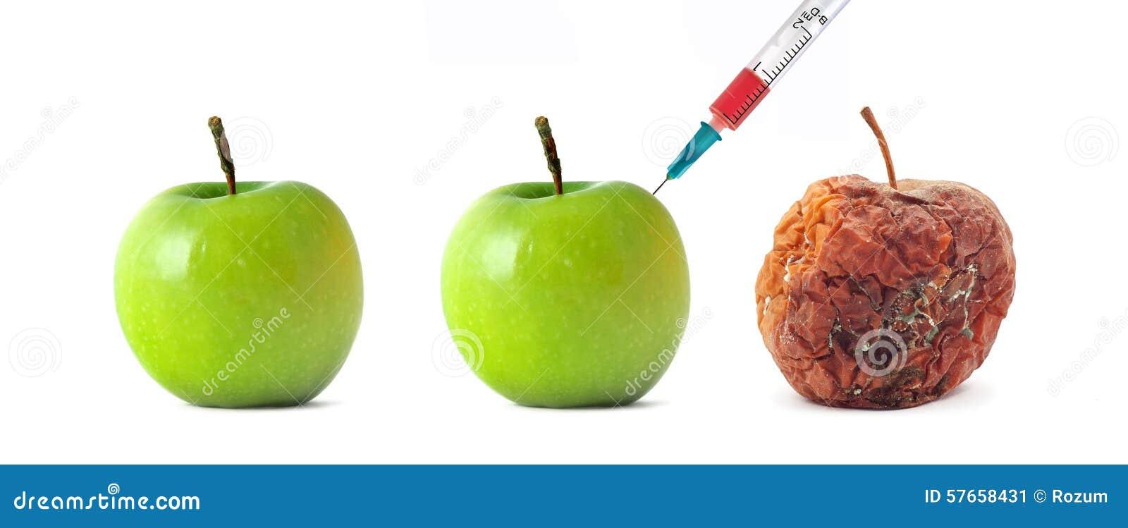 Zielony i przegniły jabłko