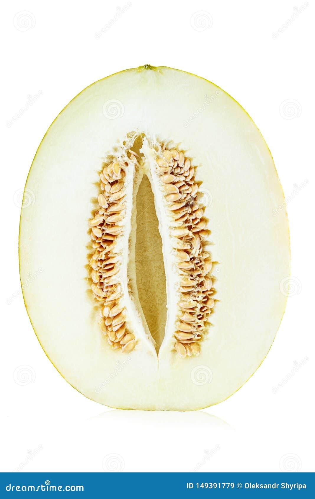 Zielony kantalupa melon odizolowywaj?cy na bielu