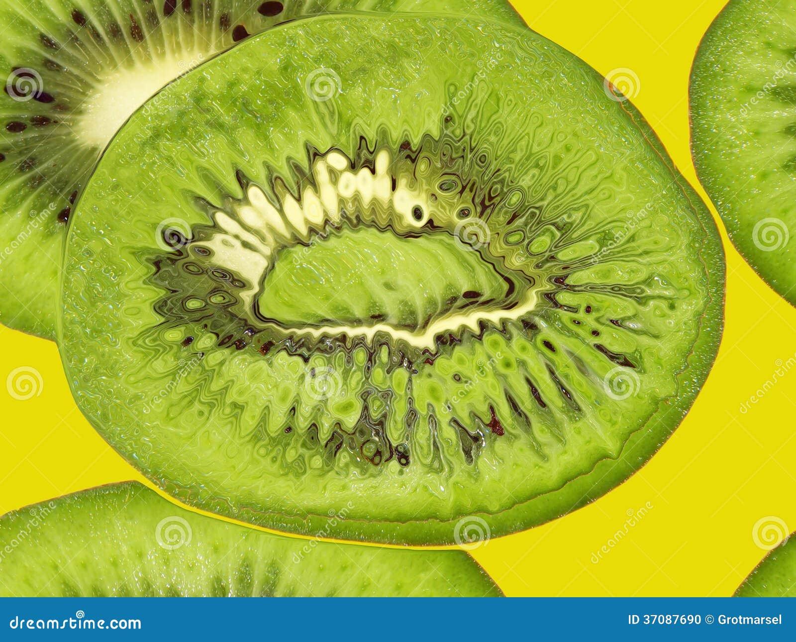 Download Zielony Kiwi Na żółtym Brać Zbliżeniu. Karmowy Backround. Ilustracji - Ilustracja złożonej z kopiasty, naturalny: 37087690