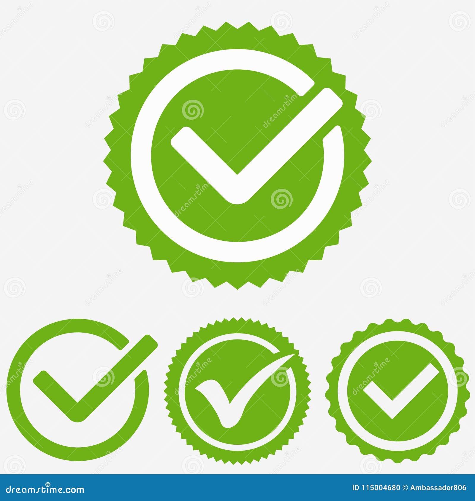 Zielony Kleszczowy Mark Czek oceny ikona Kleszczowy znak Zielony kleszczowy zatwierdzenie wektor