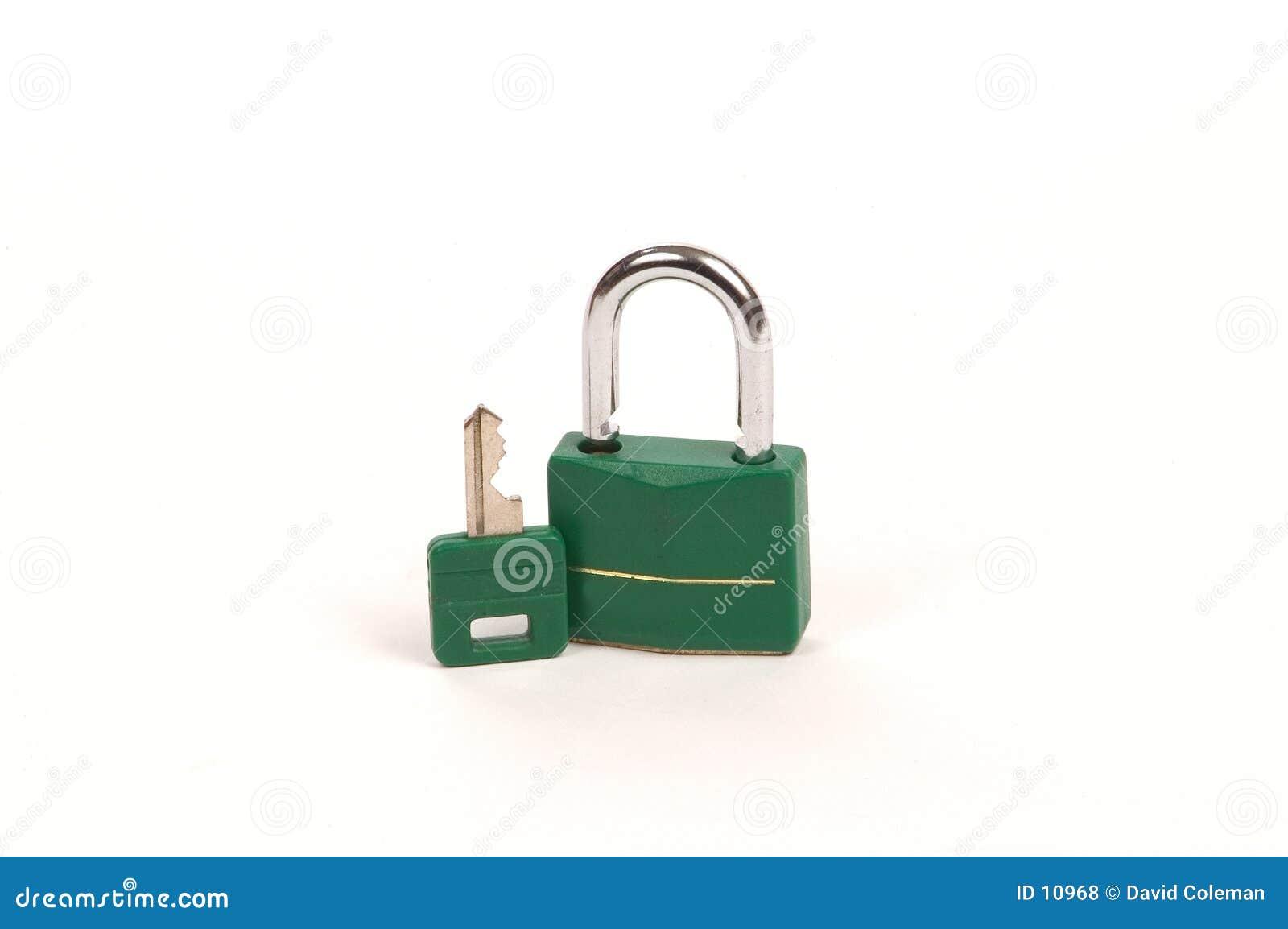 Zielony kluczowym zamek