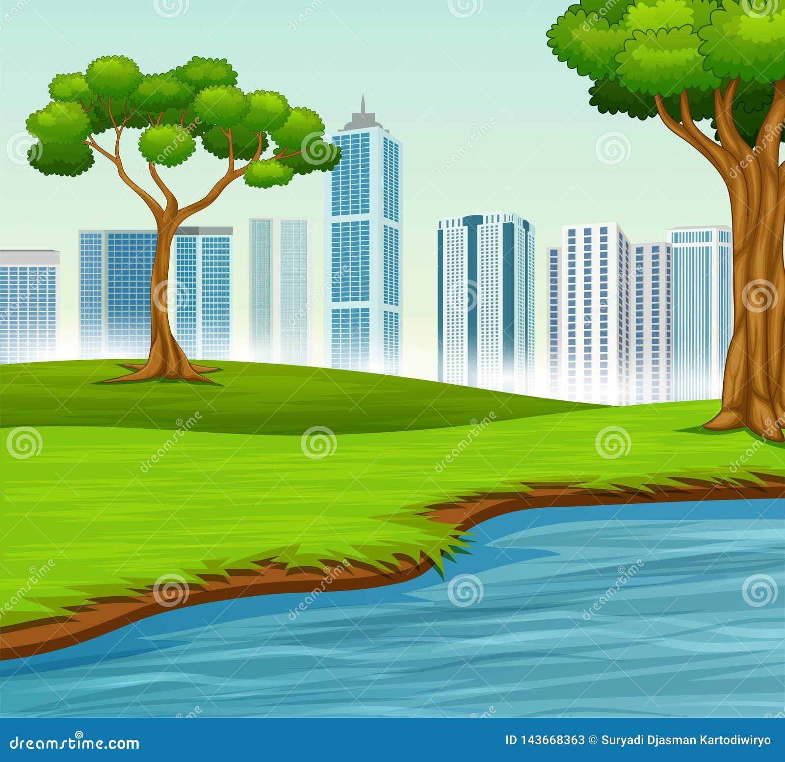 Zielony krajobraz z drzewami rzeka i miasto