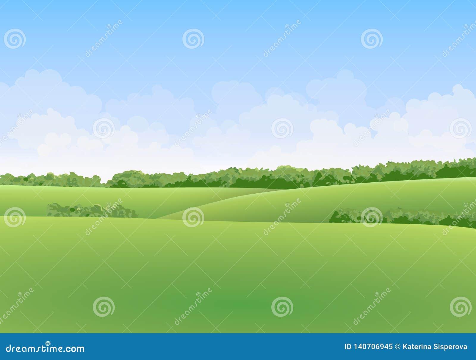 Zielony lato wektoru krajobraz z łąkami i drzewami w tle z chmurami w niebieskim niebie