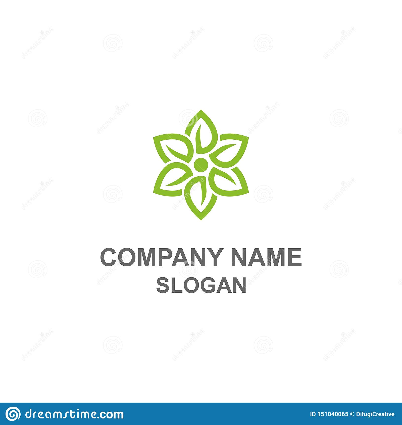 Zielony liścia kwiatu logo