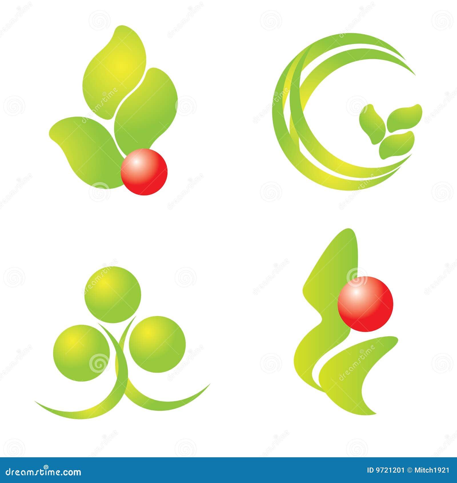Zielony logo natury set