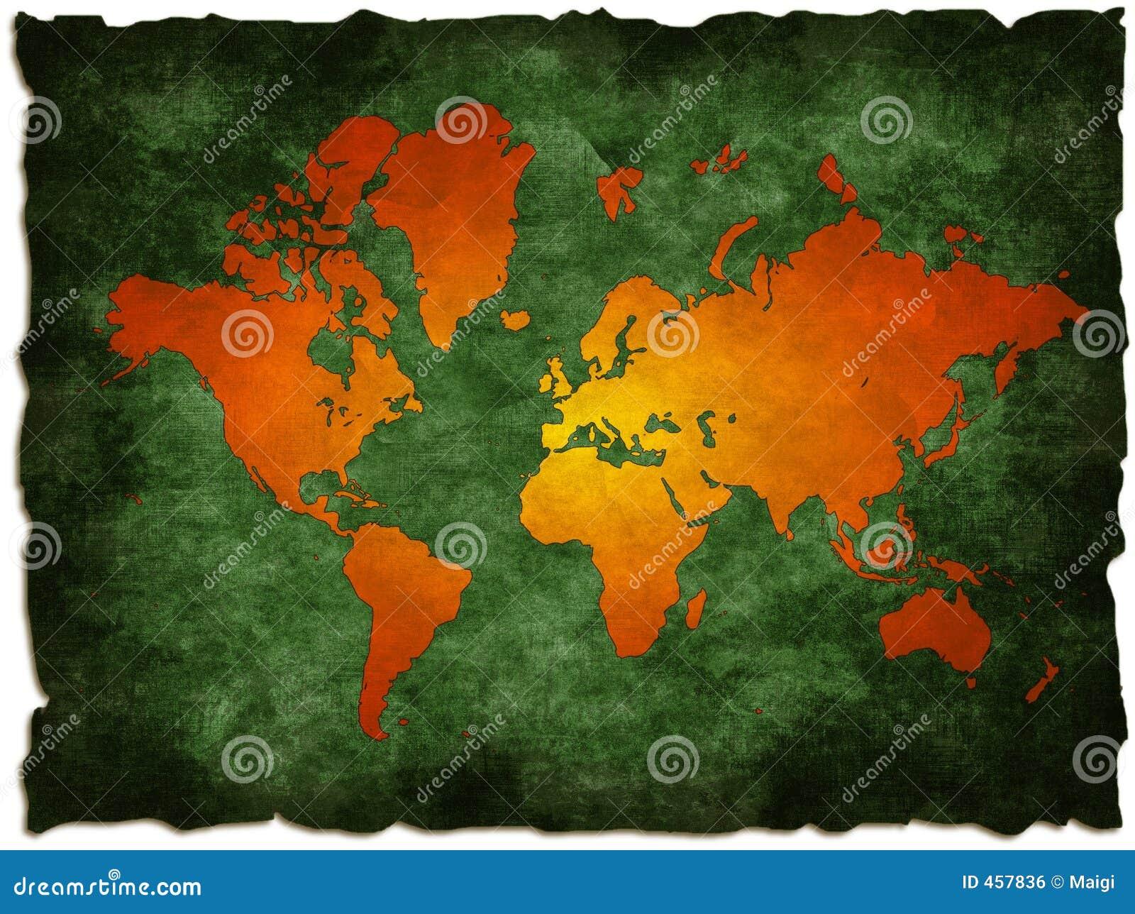 Zielony mapę starego świata