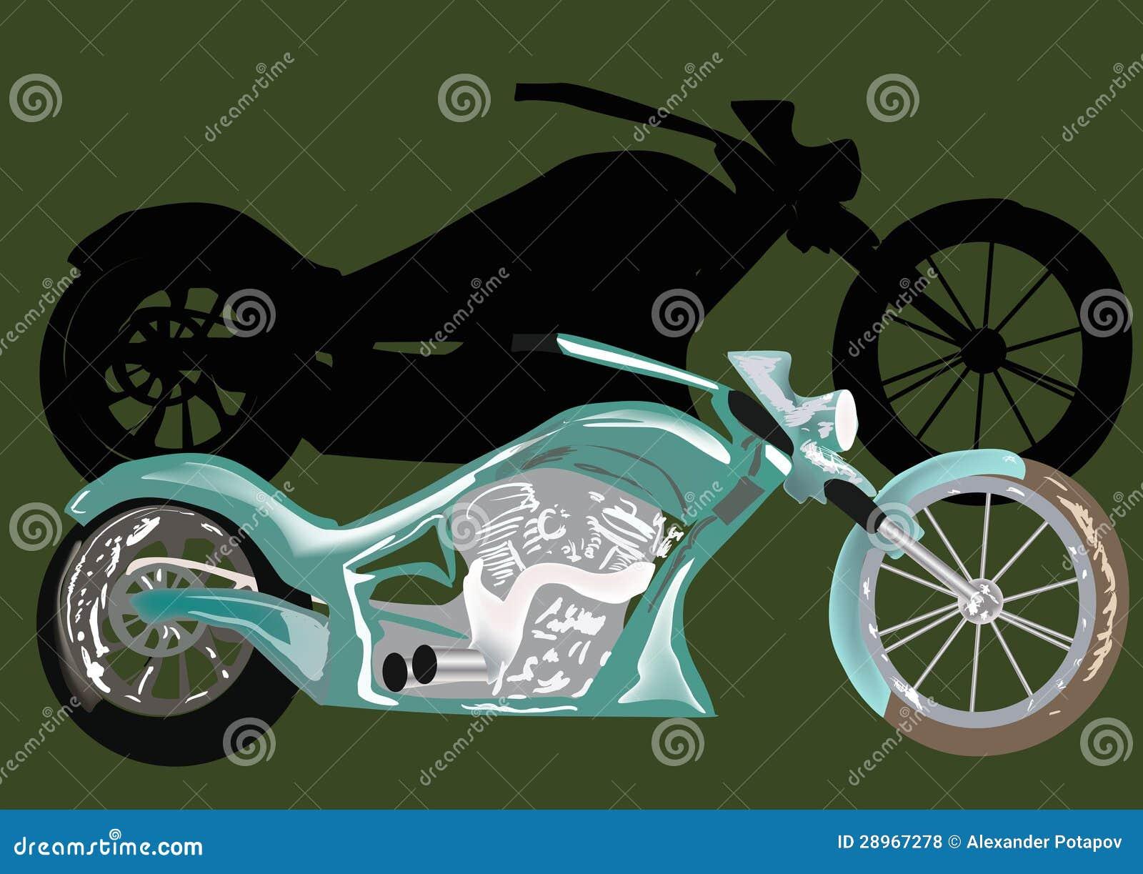Zielony motocykl z cieniem