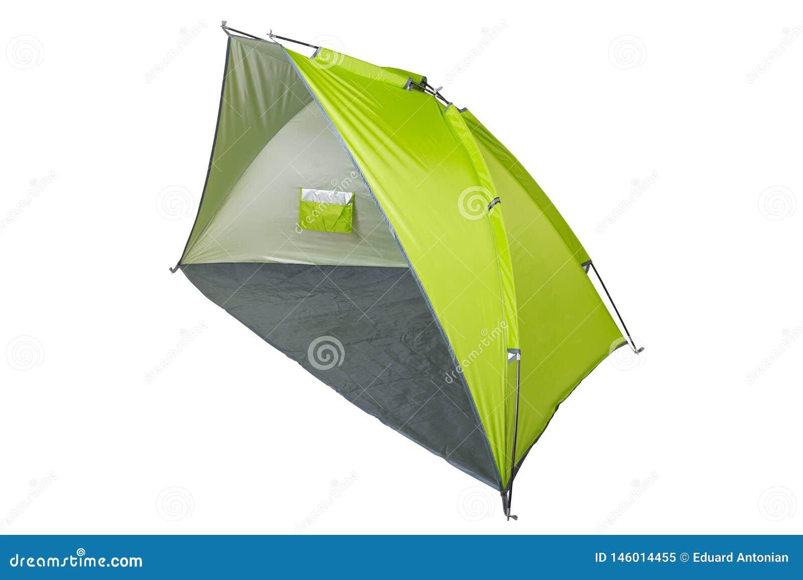 Zielony namiot - markiza dla plaży dla obozować lub, rozkładający, na białym tle
