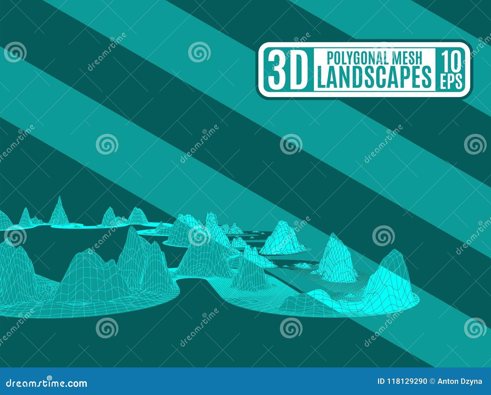 Zielony neonowy teren górzysty poligonalny dla reklamować