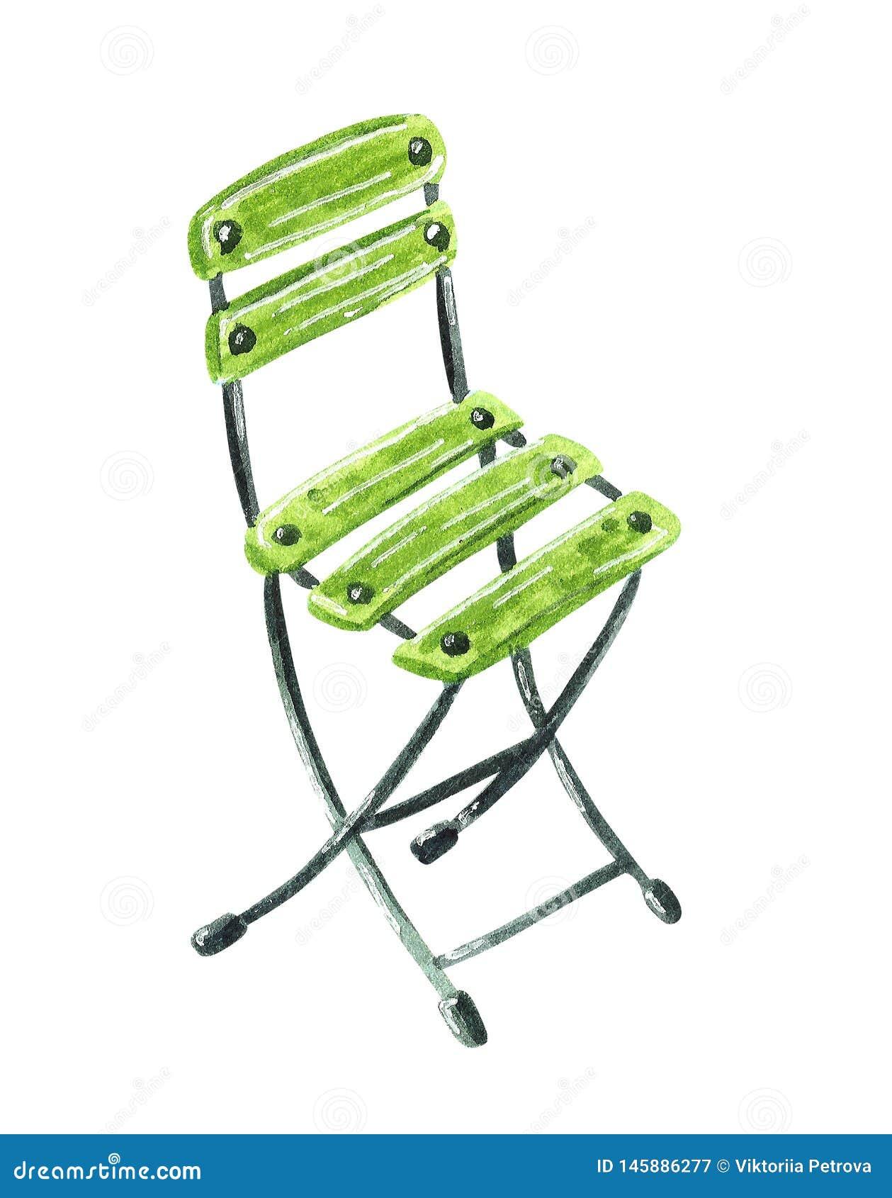 Zielony ogrodowy drewniany krzesło, ręka rysująca akwareli ilustracja
