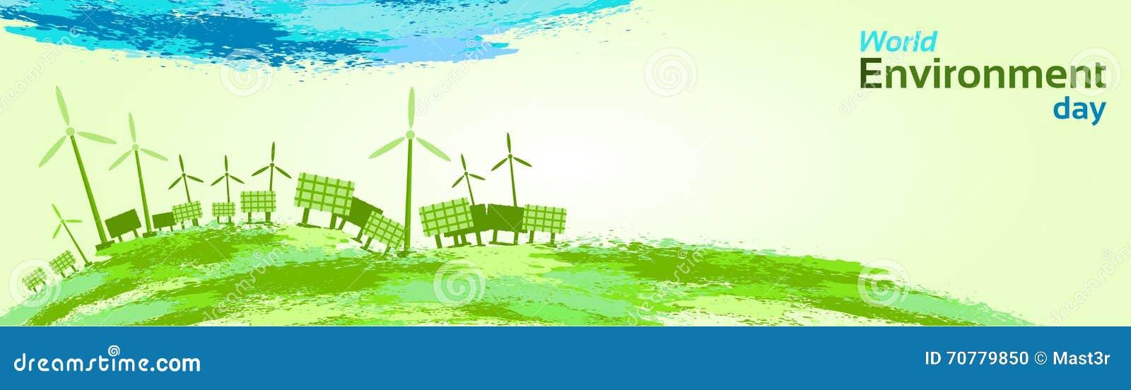 Zielony silnik wiatrowy energii słonecznej panelu Światowego środowiska dzień
