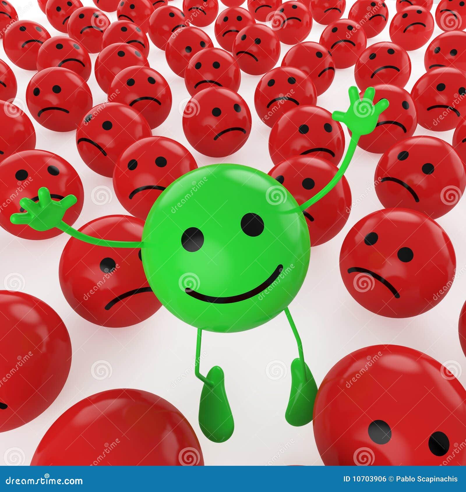 Zielony skokowy smiley