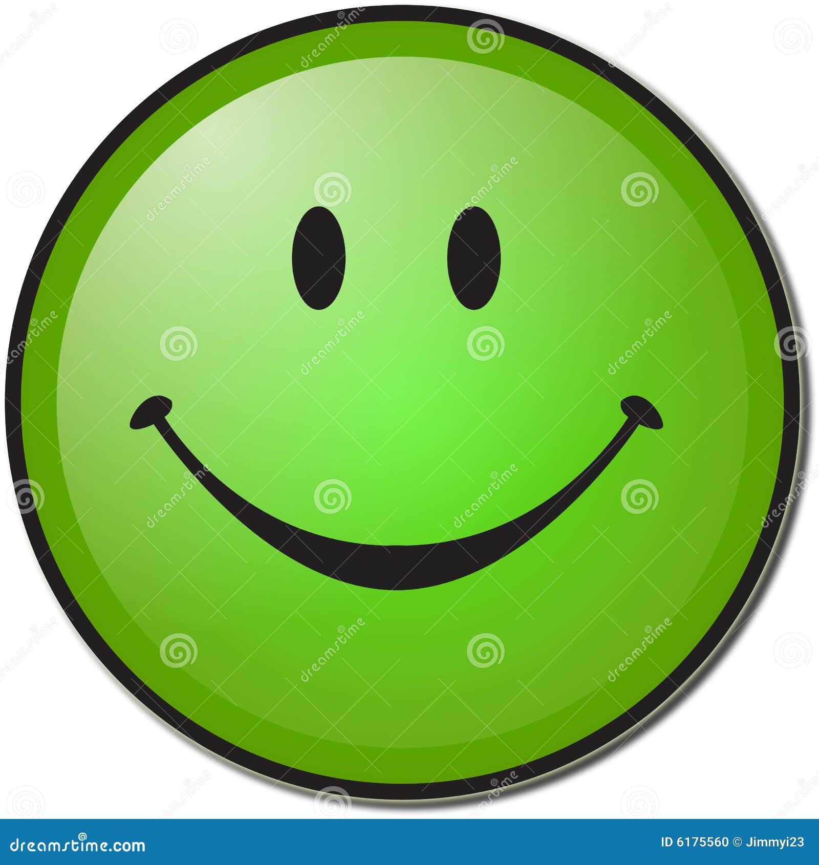 Zielony szczęśliwy uśmiech twarzy