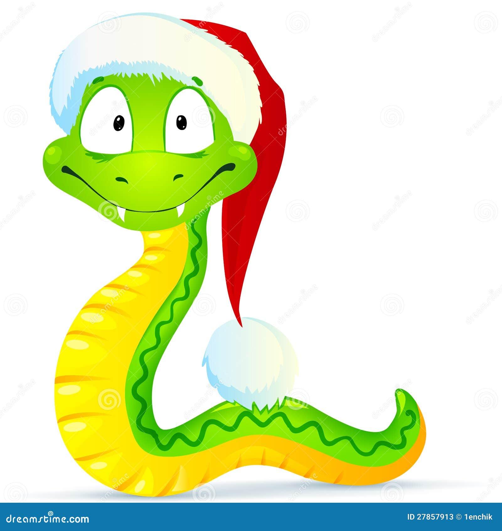 Zielony wąż w błękitny Santa kapeluszu