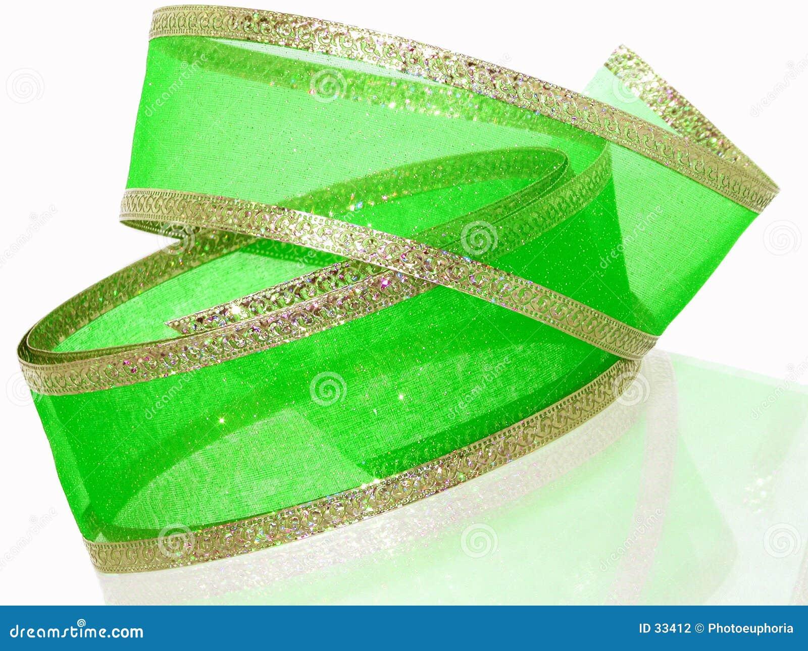 Zielony wstążkę złoto