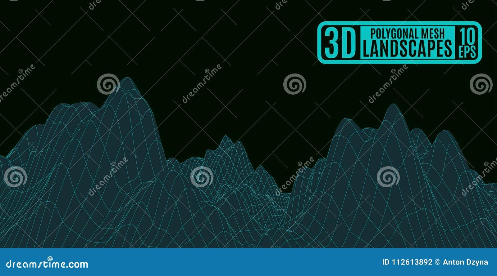 Zielonych neonowych gór abstrakcjonistyczny obcy dziwaczny