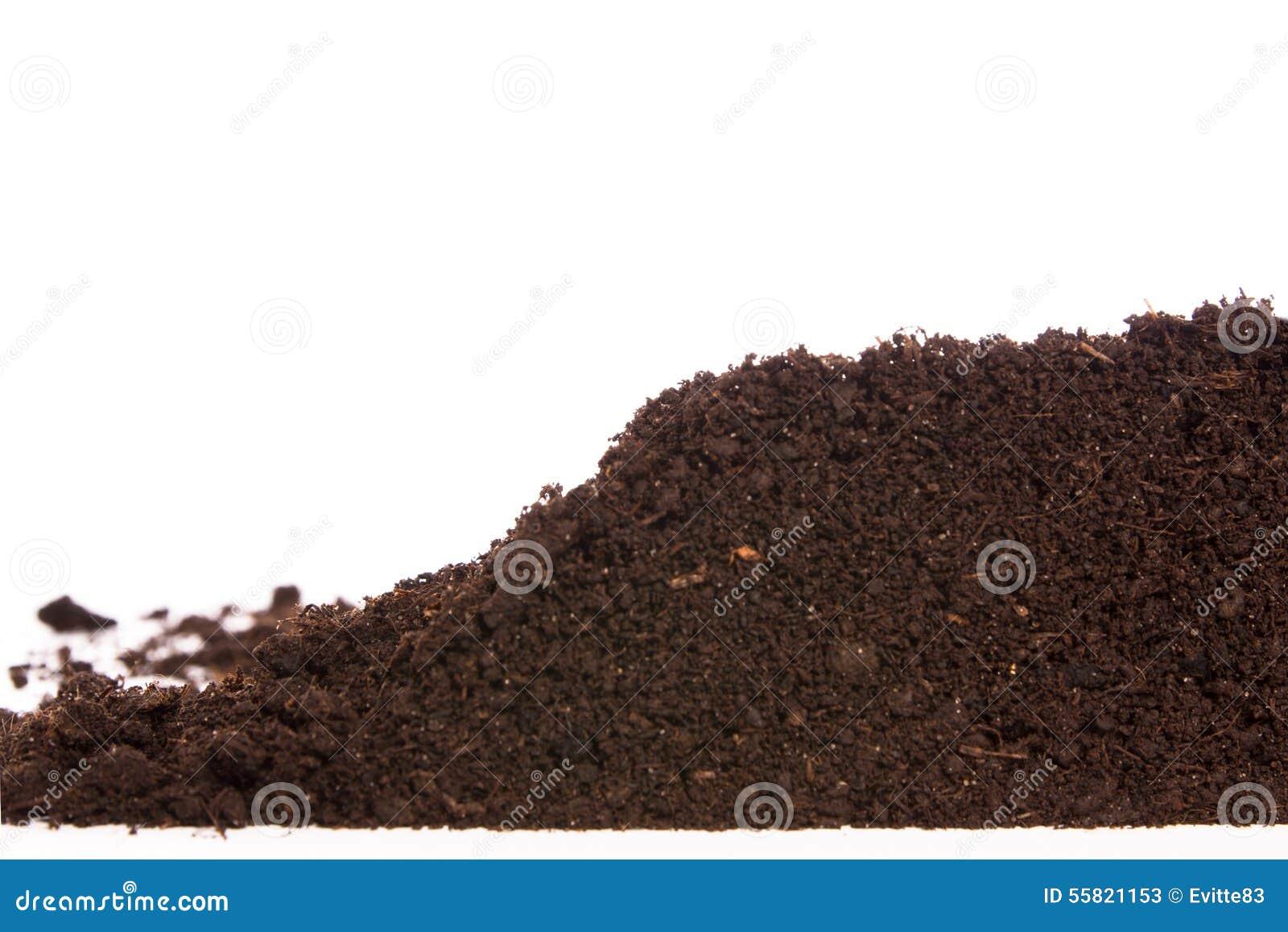 Ziemi lub brudu sekcja odizolowywająca na białym tle