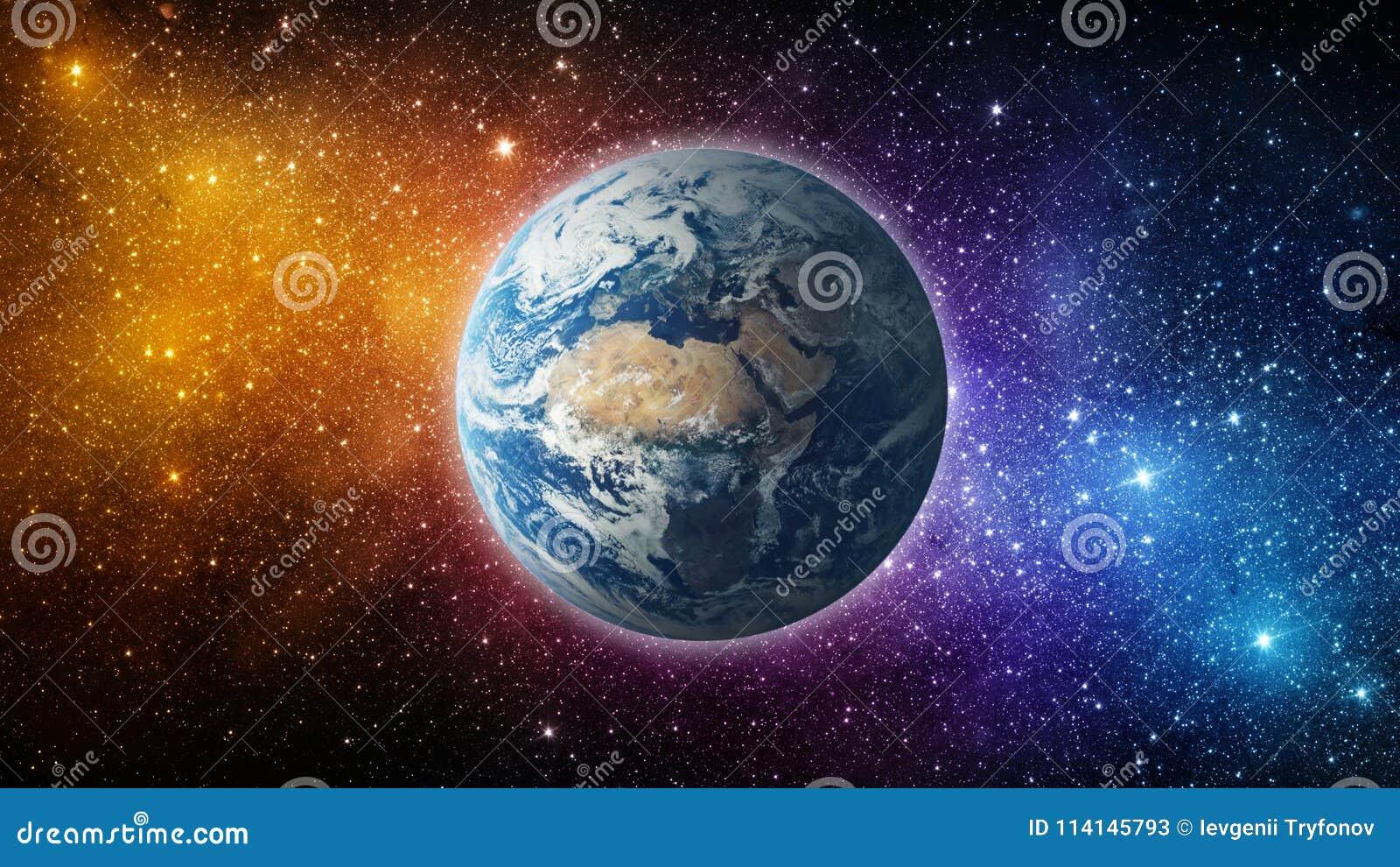 Ziemia, słońce, gwiazda i galaxy, Wschód słońca Nad planety ziemią