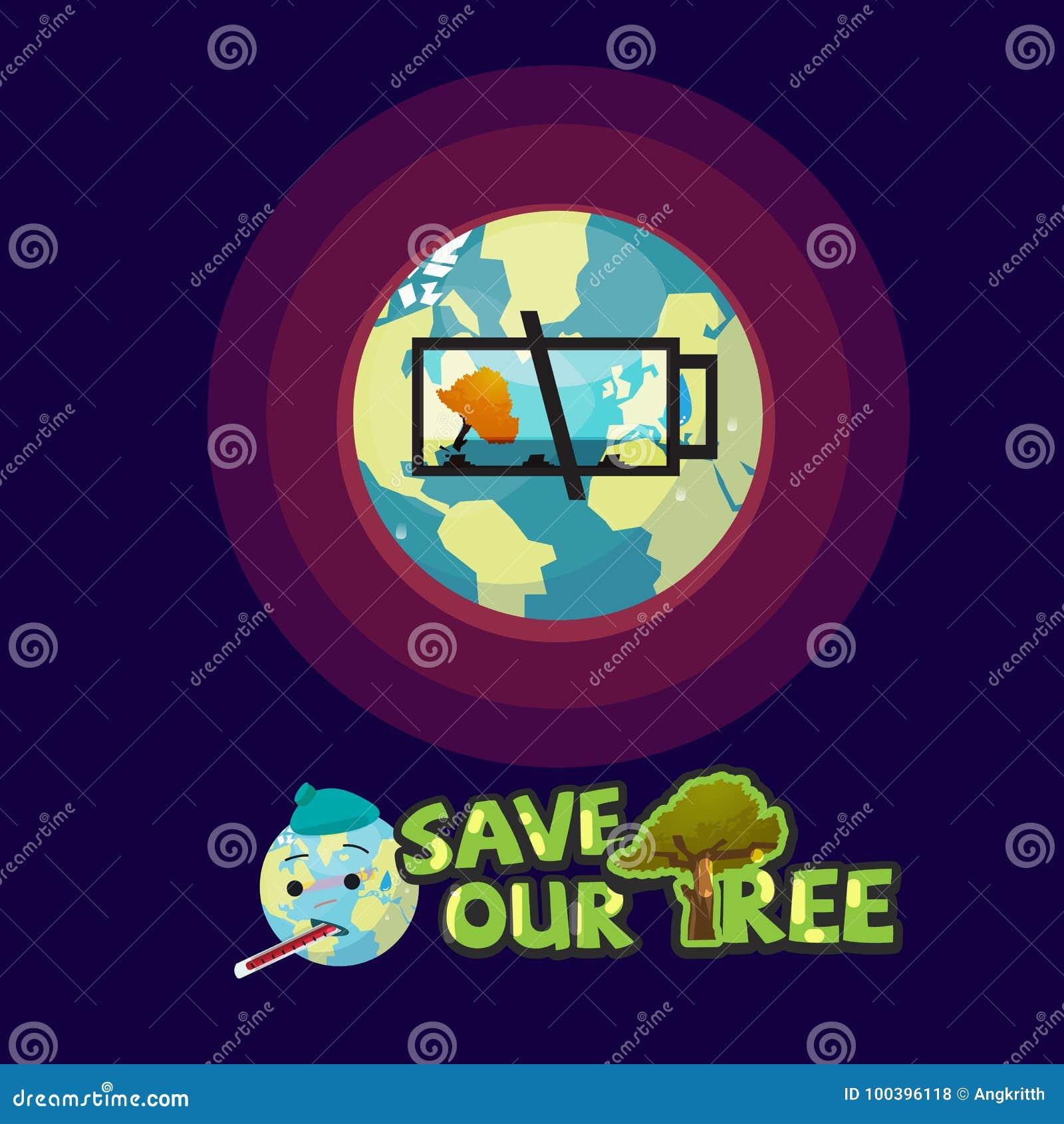 Ziemia z pustą bateryjną ikoną ostatni drzewo save nasz drzewnego pojęcie