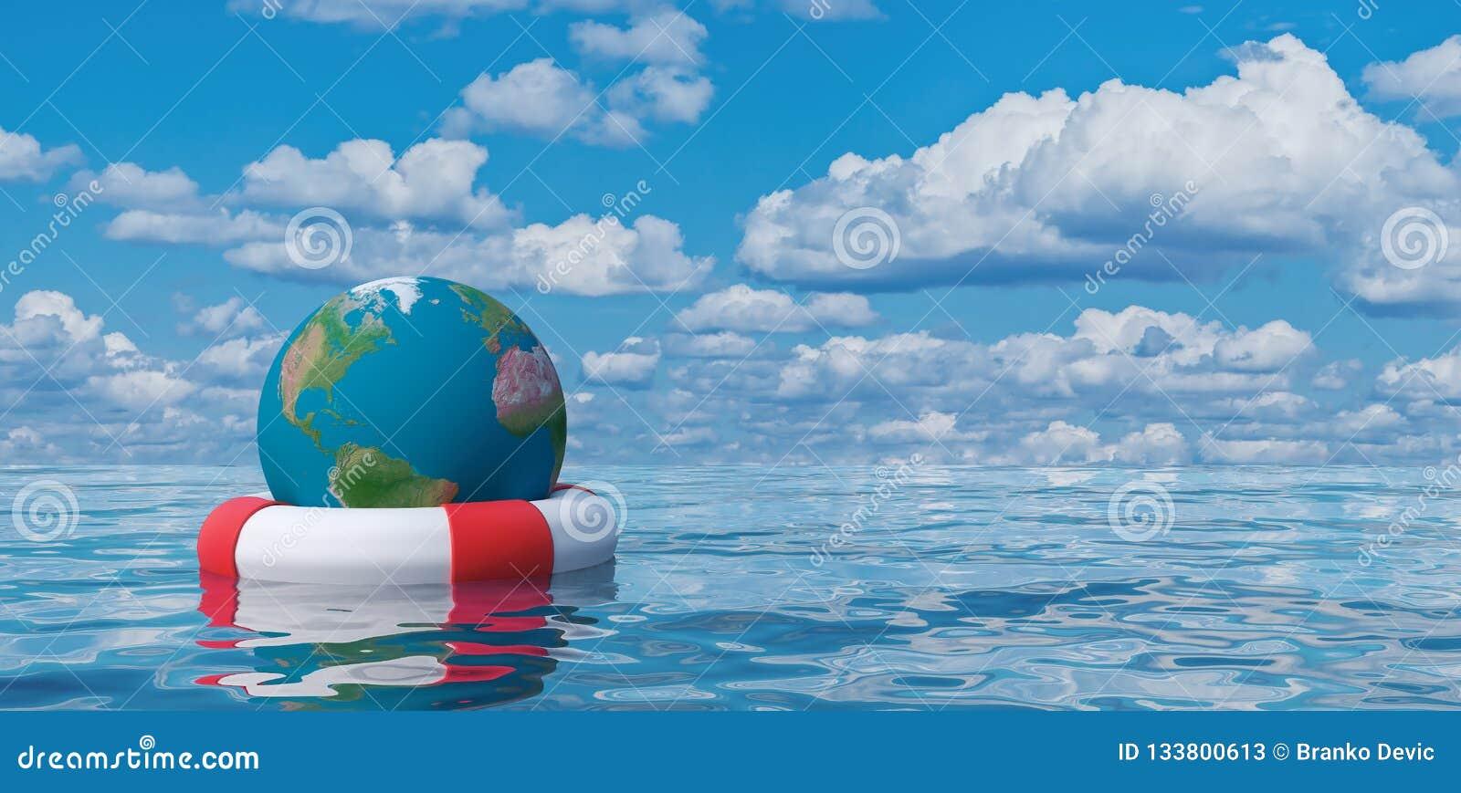 Ziemska kula ziemska w lifebuoy, oprócz światowej pojęcia 3d ilustracji