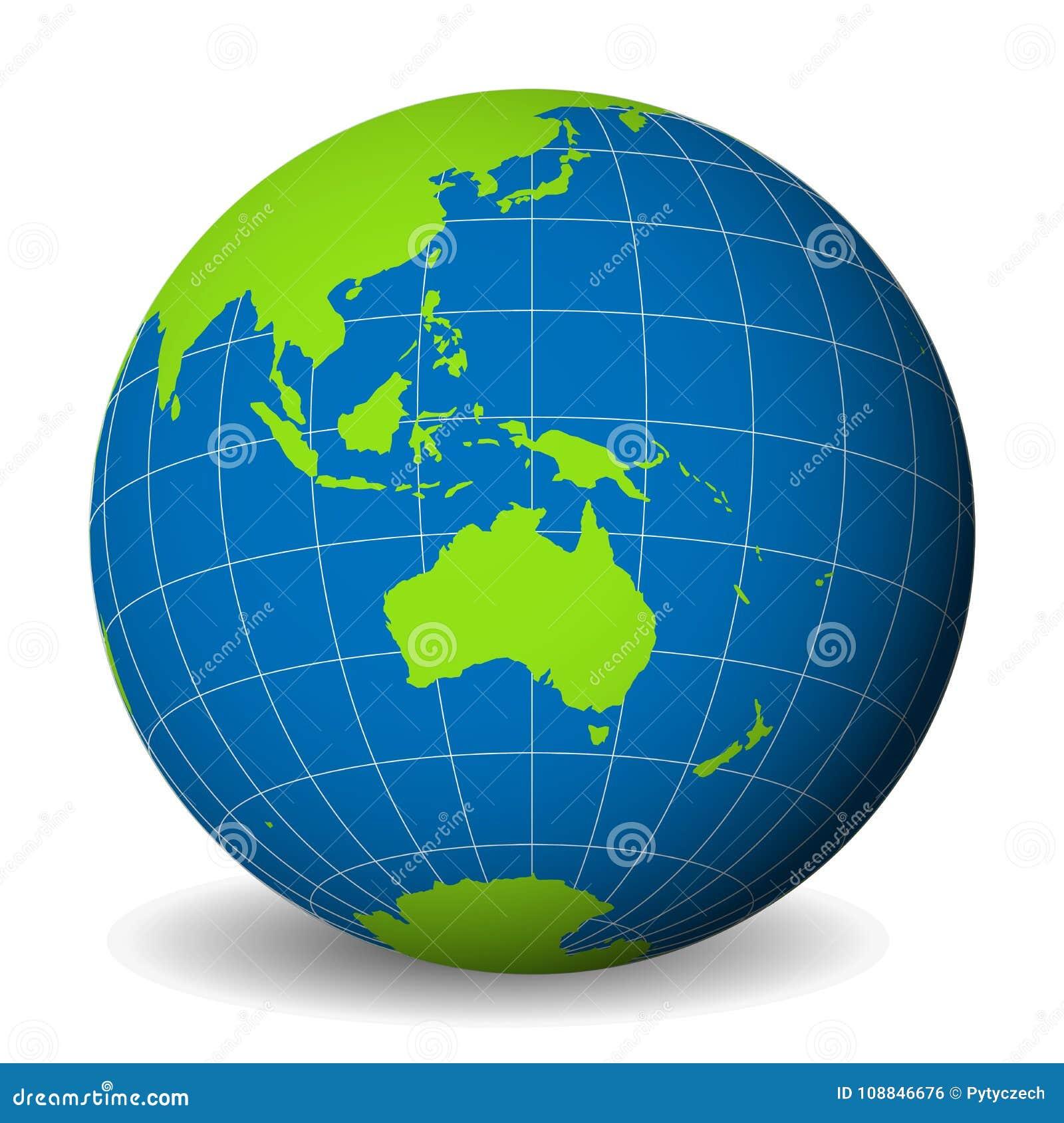 Ziemska kula ziemska z zieloną światową mapą, błękitni oceany i morza i skupiał się na Australia Z cienkimi białymi południkami i