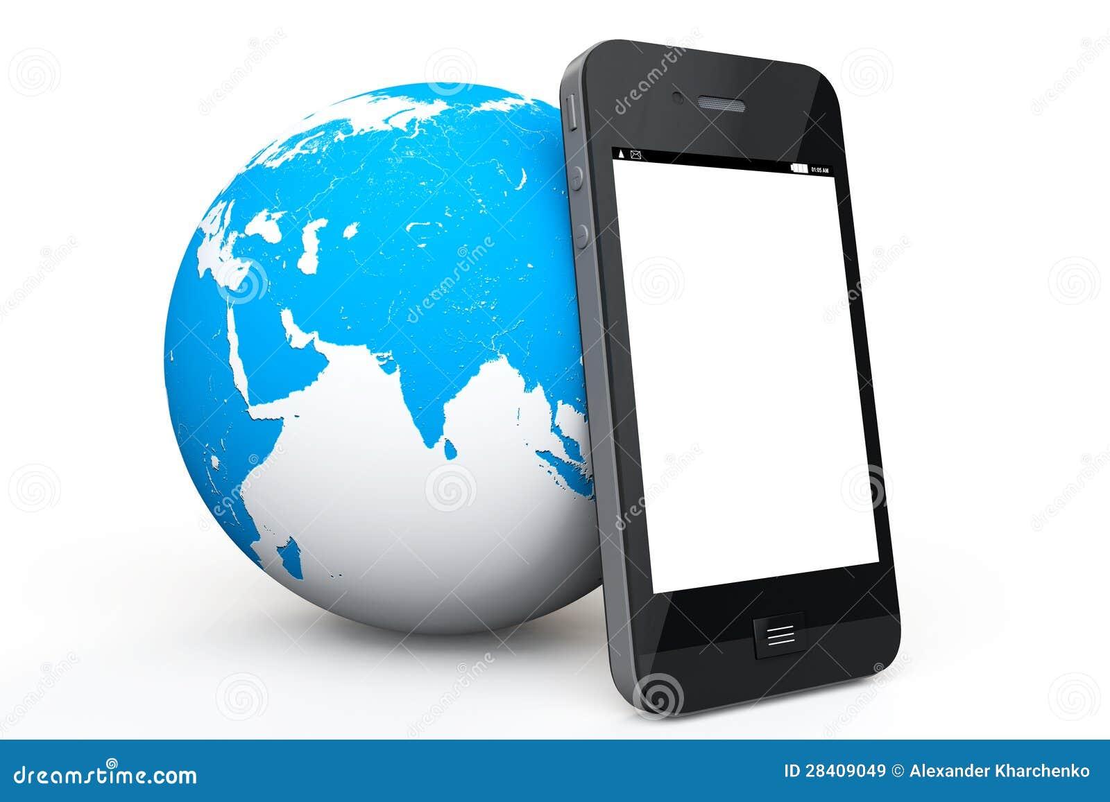Ziemska kula ziemska z telefon komórkowy