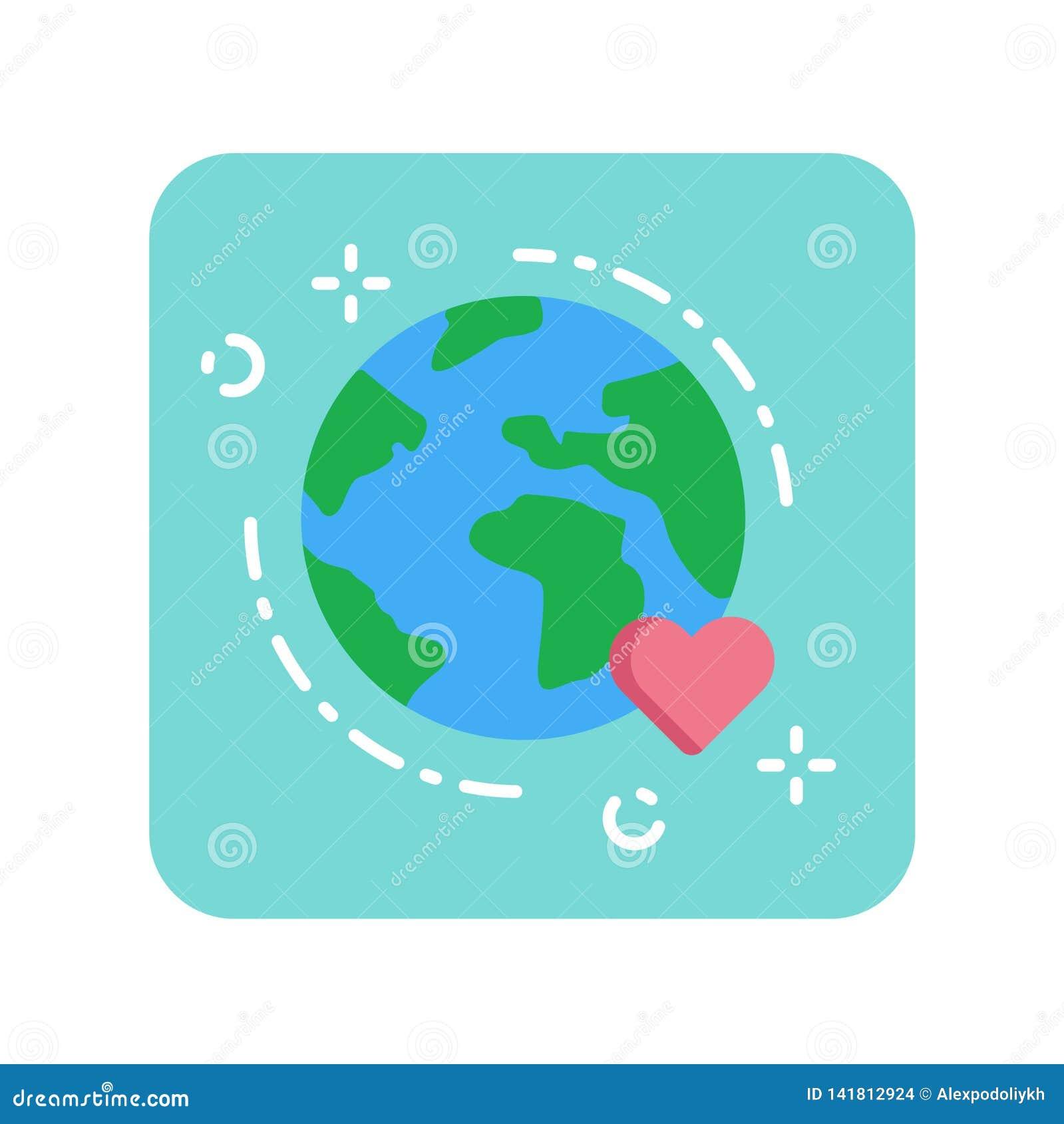 Ziemska płaska kolor ikona Ochrony środowiska pojęcie