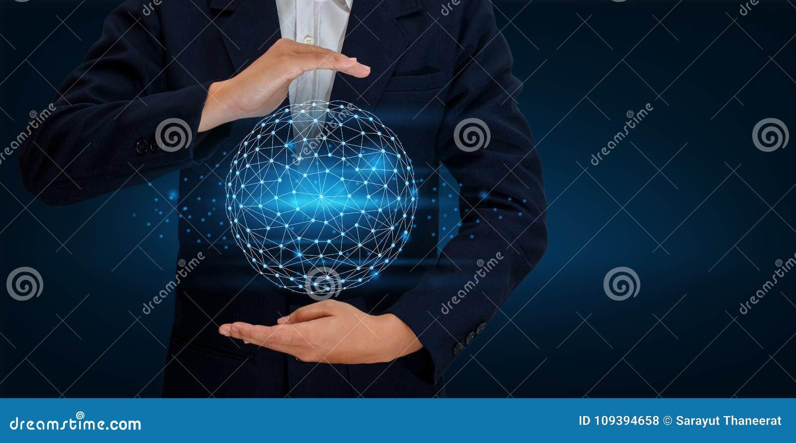 Ziemskiej wielobok siatki planety Światowa mapa W rękach biznesmen sieci komunikaci i technologii wkładu Astronautyczny dane
