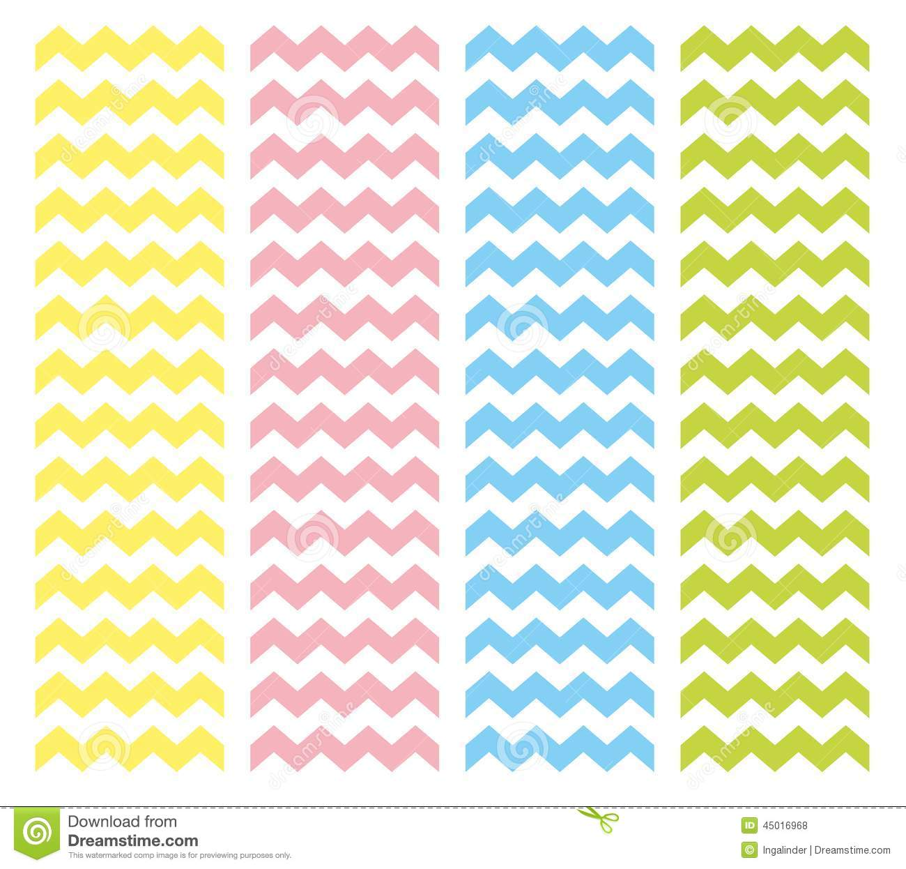 Zig zag chevron pattern vector set. Pastel pink, blue, yellow and ...