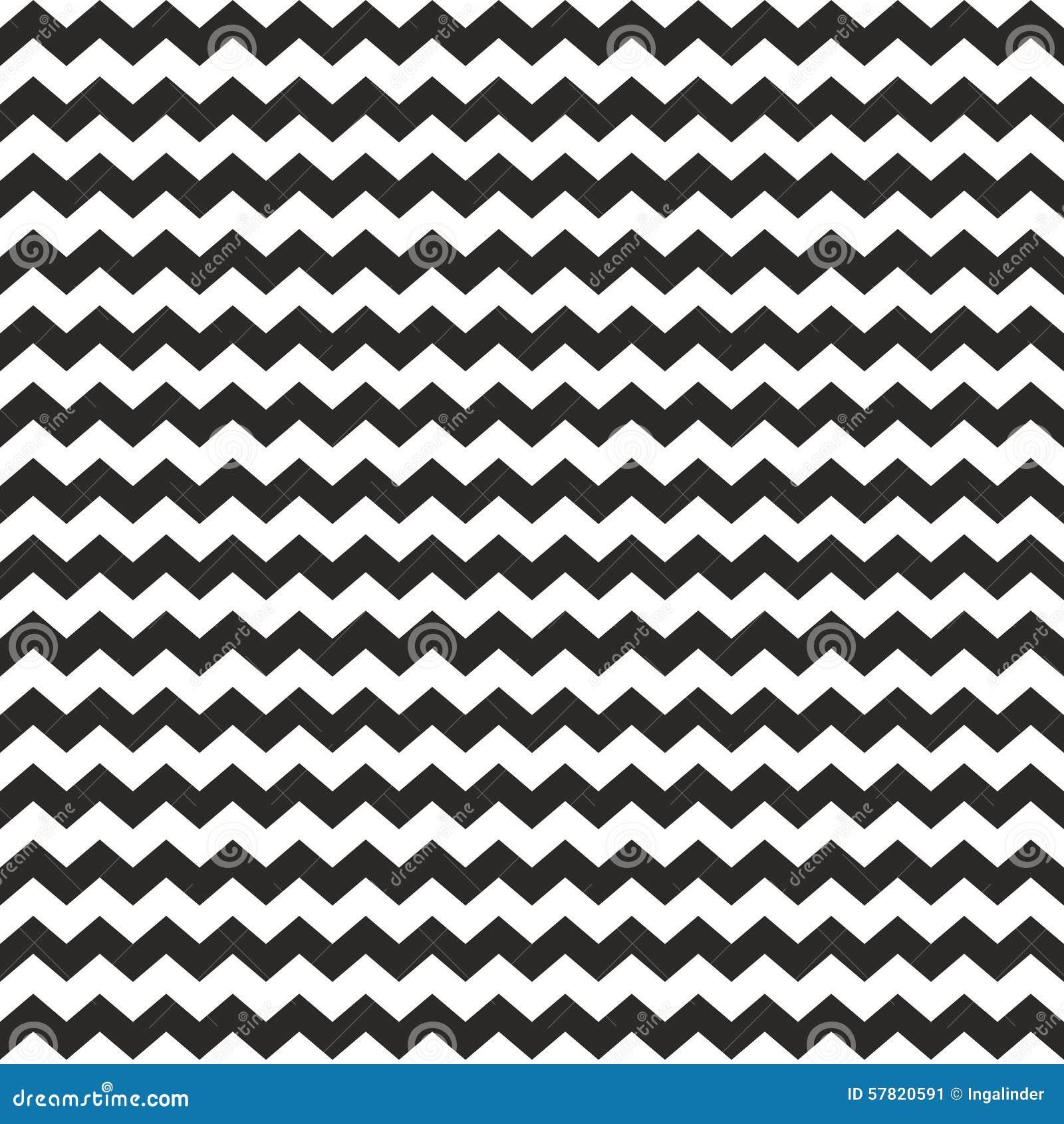 Zig Zag Vector Chevron Black And White Tile Pattern Stock
