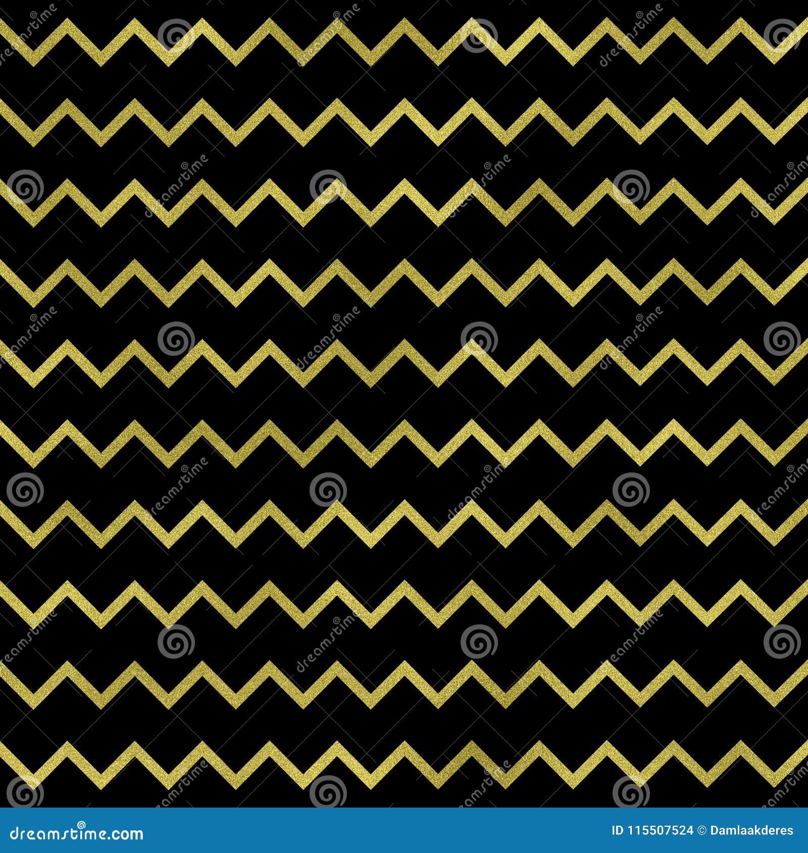 Zigzag D Or Geometrique Sur Le Fond Noir Texture De Zigzag D Or