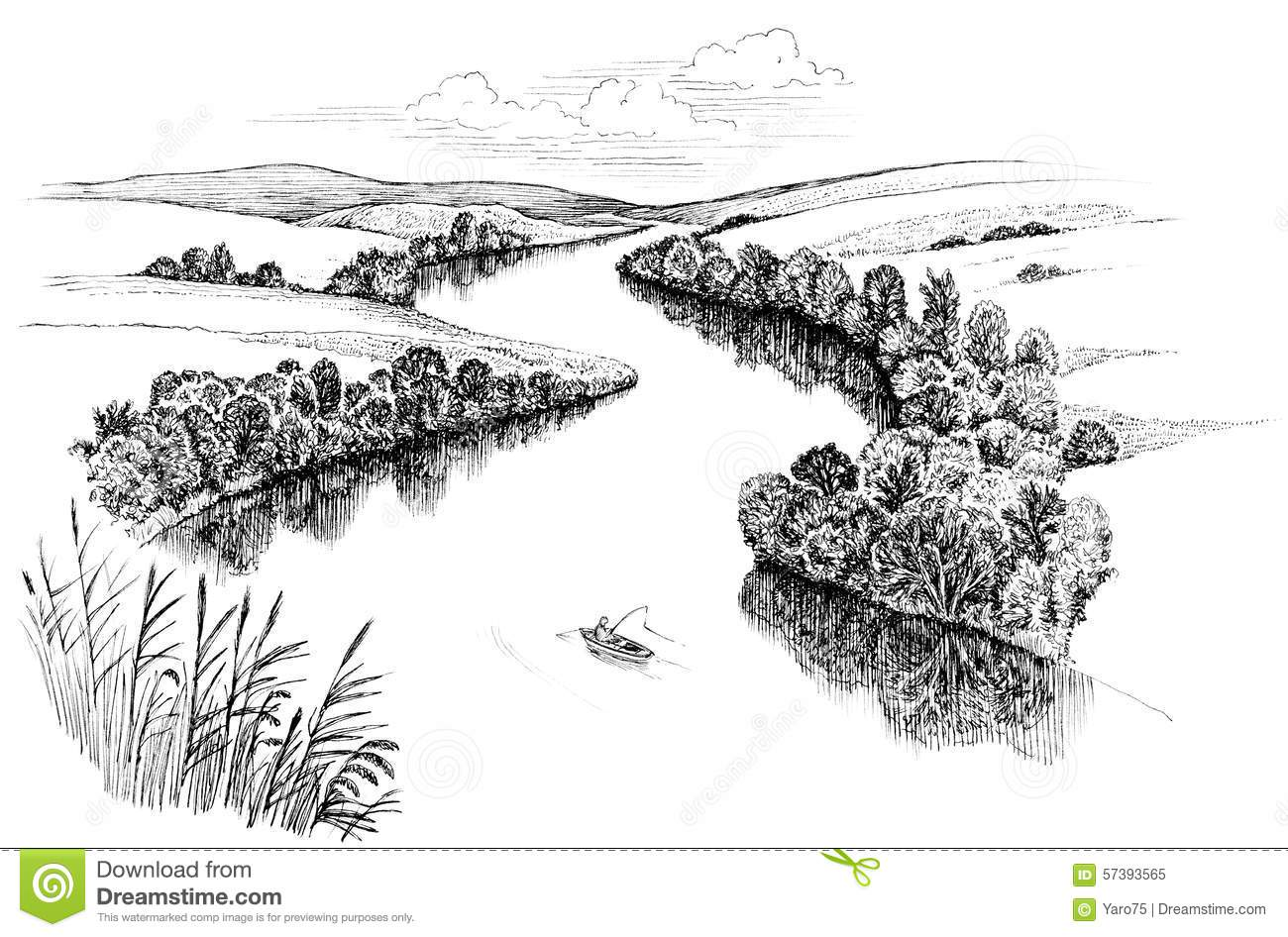 Line Drawing River : Zigzag river stock illustration of black