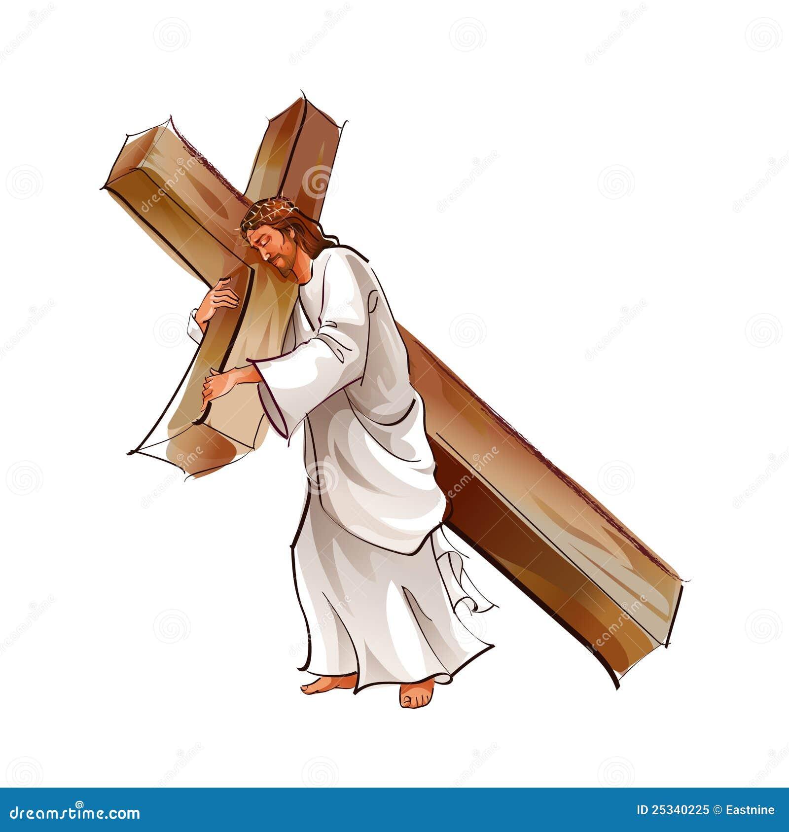 Zijaanzicht van de holdingskruis van Jesus-Christus