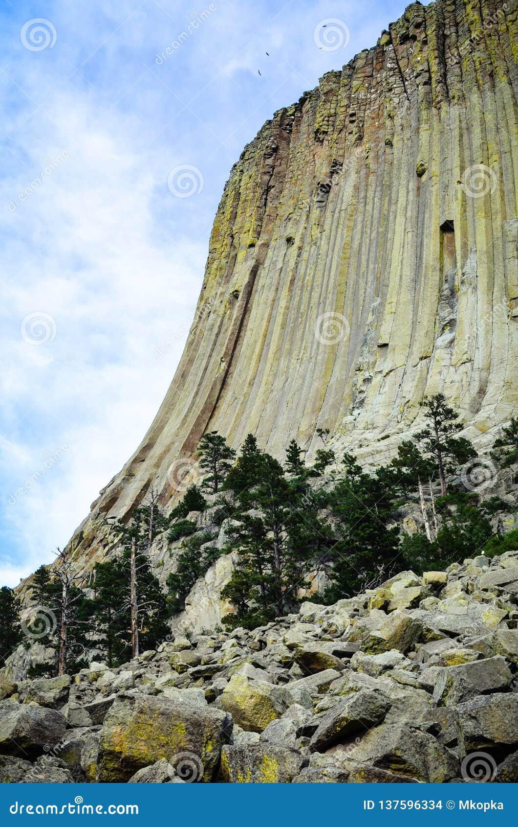 Zijaanzicht van Devlis-Toren Nationaal Monument in Wyoming Dit beeld behoort tot reeks die pics met id s omvat: 16095740, 1609534