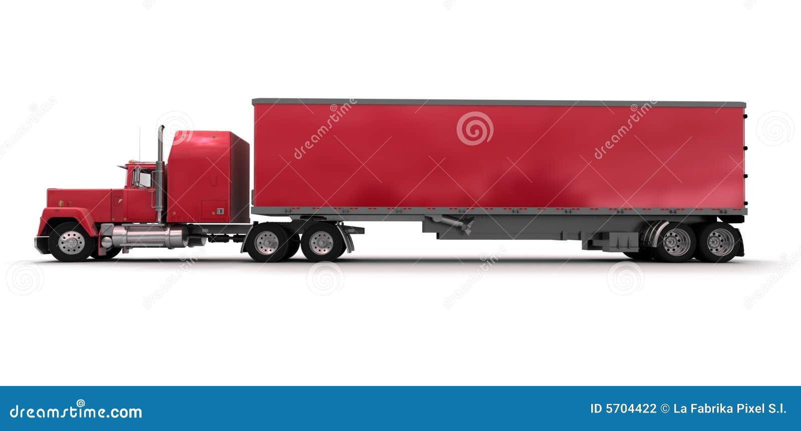 Zijaanzicht van een grote rode aanhangwagenvrachtwagen