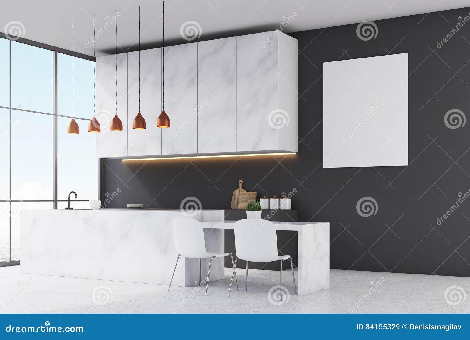 Keuken Witte Kleine : Zijaanzicht van een keuken met marmeren meubilair zwarte muren