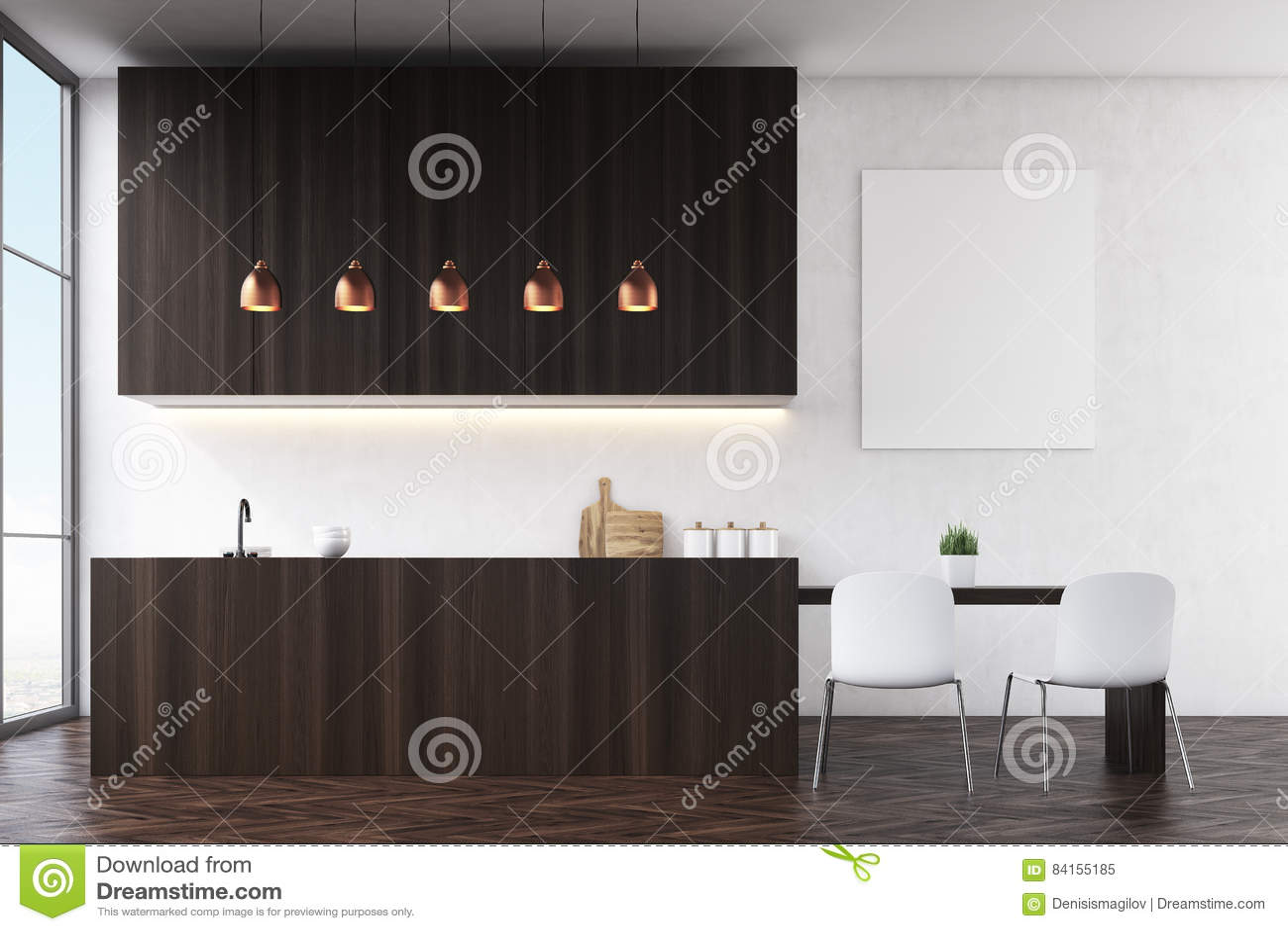 Zijaanzicht van een keuken met zwarte muren donker houten meubilair en witte stoelen dichtbij - Meubilair zwarte keuken lak ...