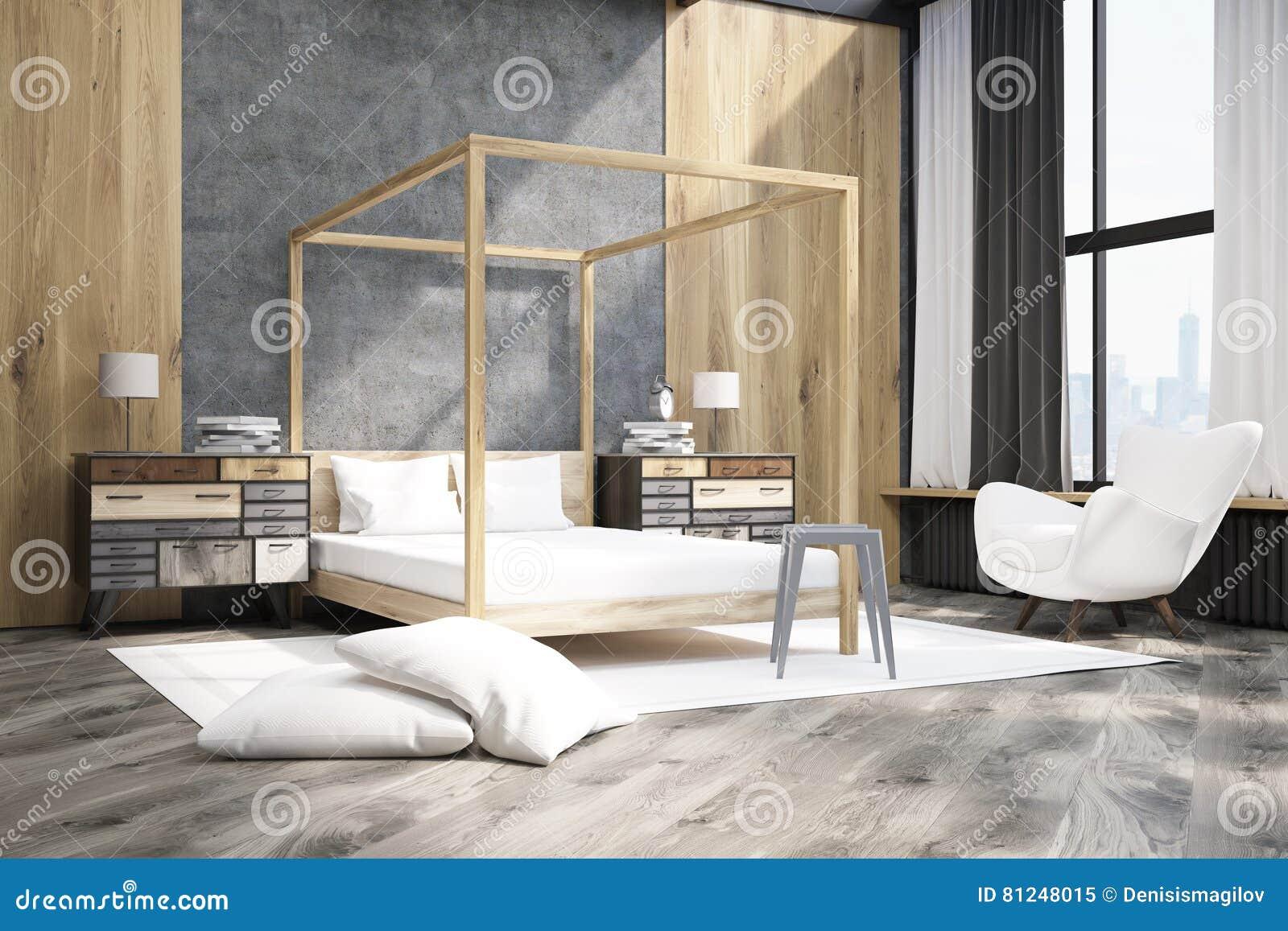 Grote Posters Slaapkamer : Zijaanzicht van een slaapkamer met bed met pilaren stock